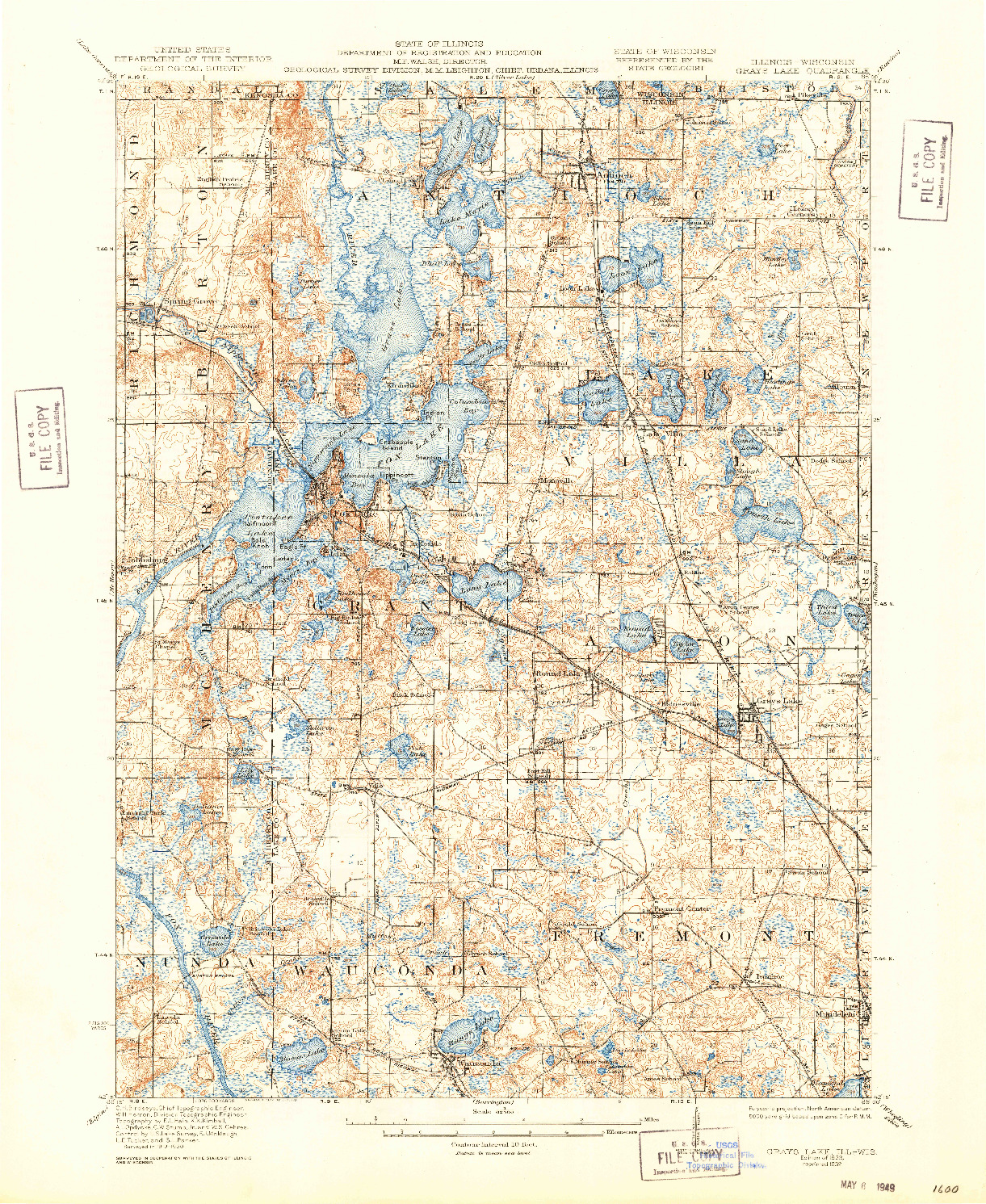 USGS 1:62500-SCALE QUADRANGLE FOR GRAYS LAKE, IL 1923