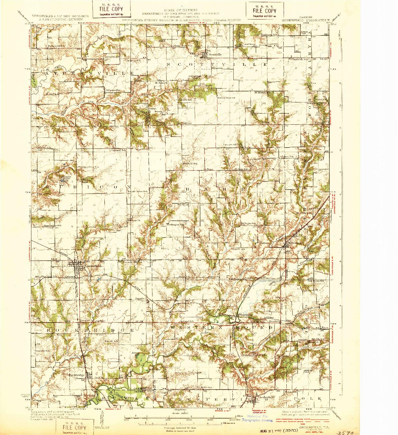 USGS 1:62500-SCALE QUADRANGLE FOR GREENFIELD, IL 1932
