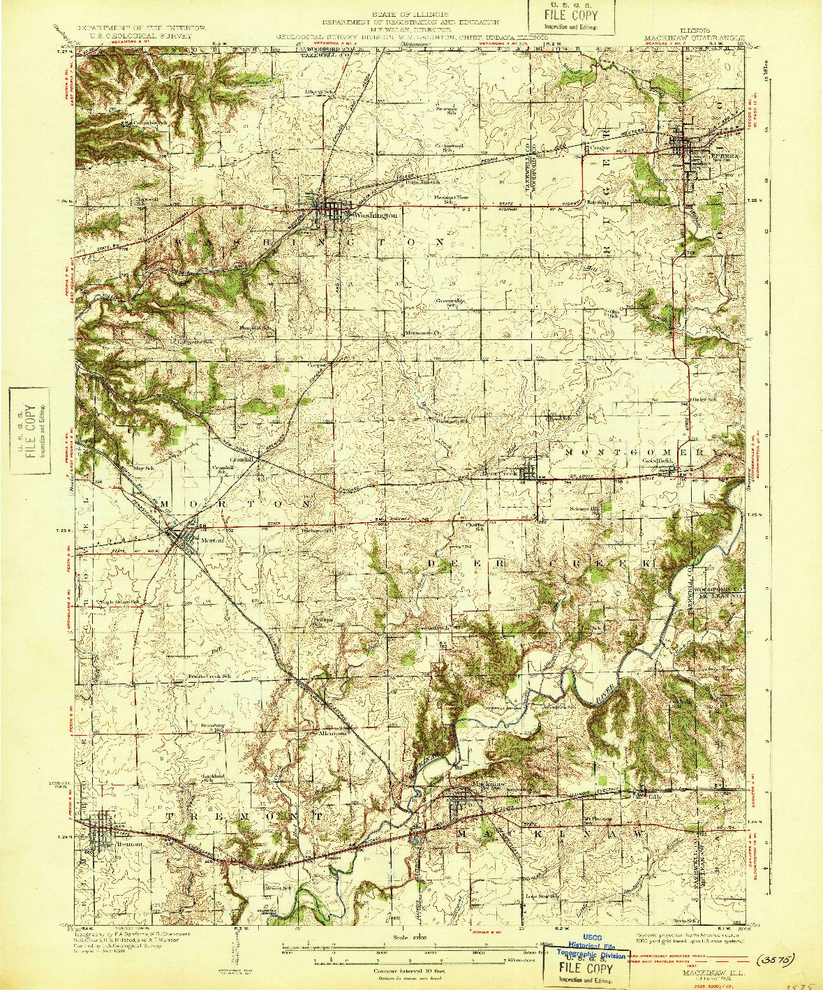 USGS 1:62500-SCALE QUADRANGLE FOR MACKINAW, IL 1932