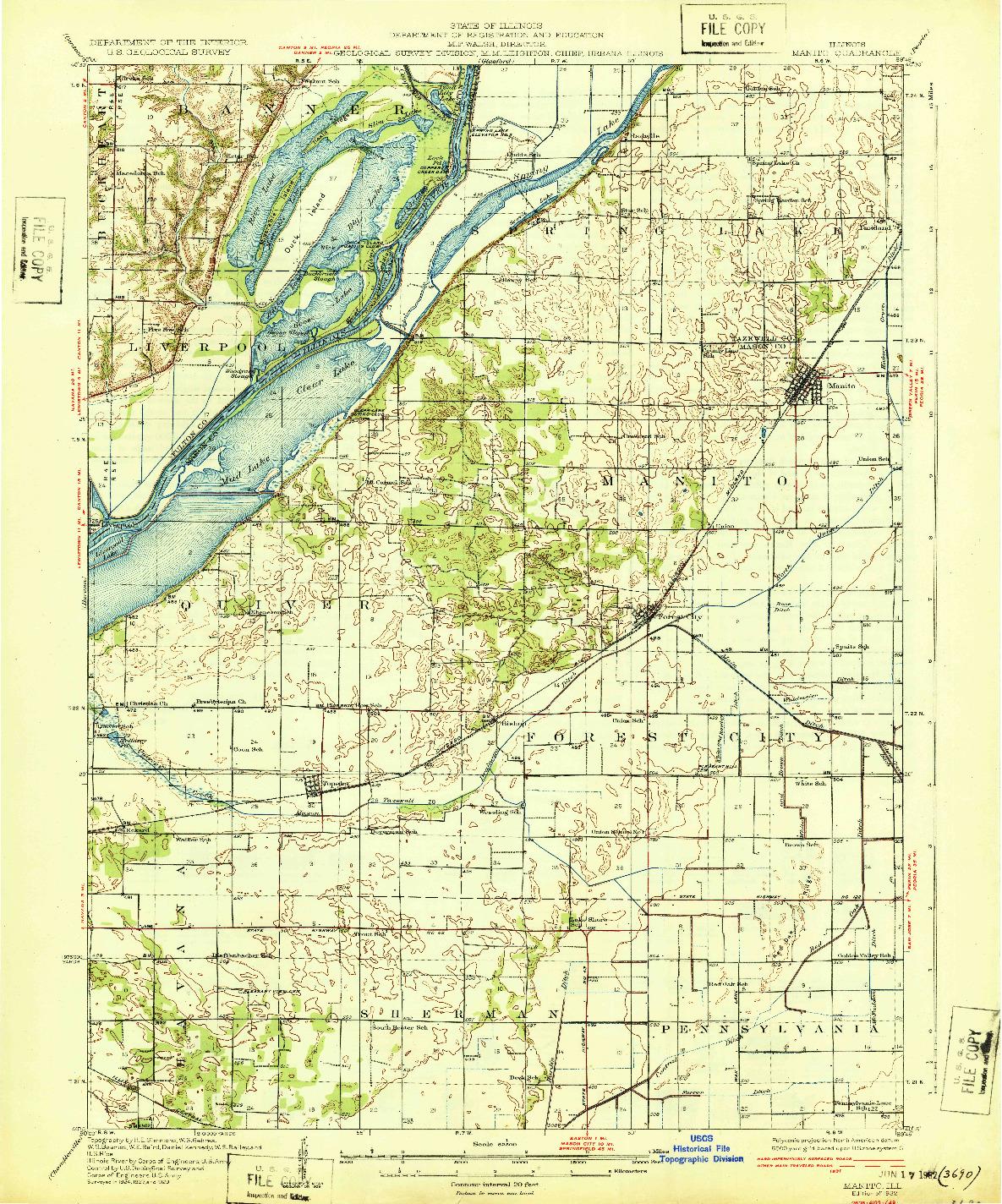 USGS 1:62500-SCALE QUADRANGLE FOR MANITO, IL 1932
