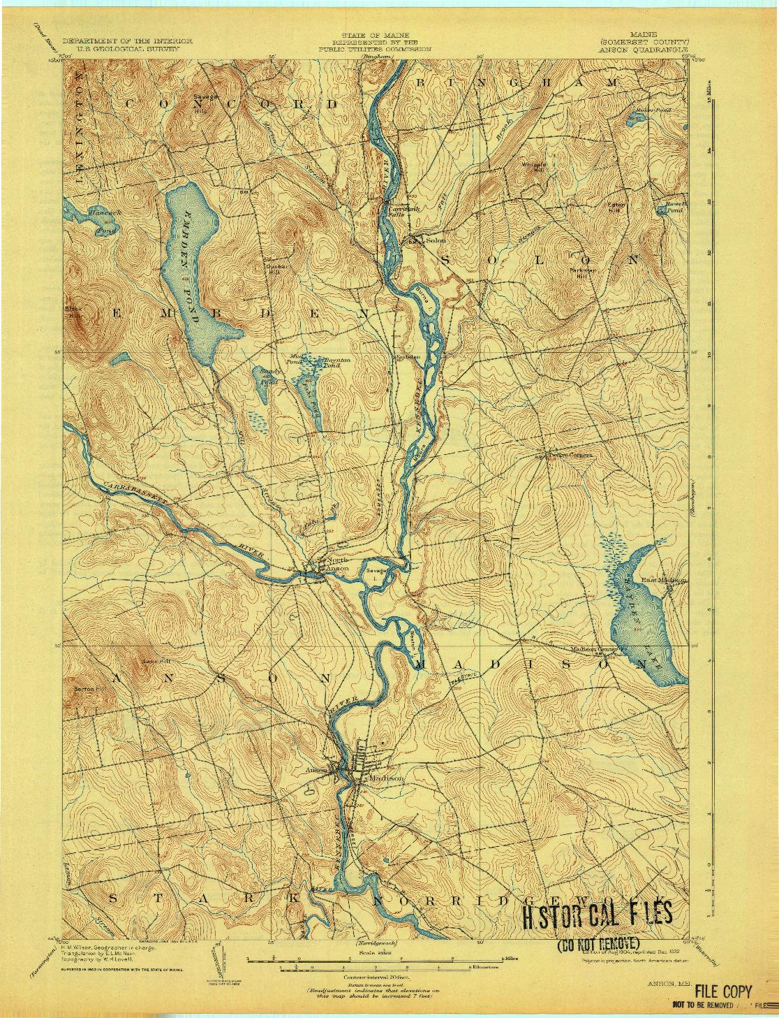 USGS 1:62500-SCALE QUADRANGLE FOR ANSON, ME 1904