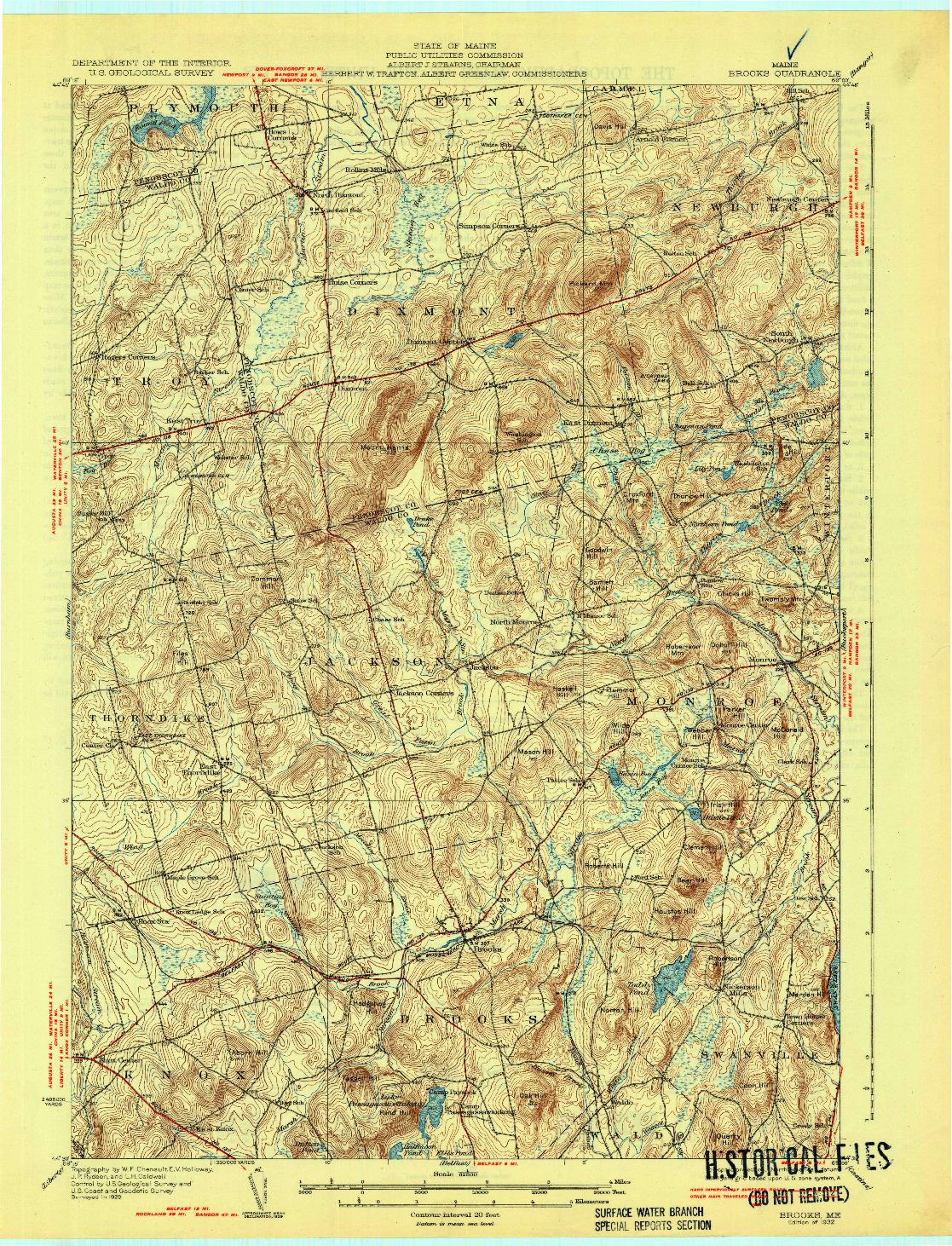 USGS 1:62500-SCALE QUADRANGLE FOR BROOKS, ME 1932