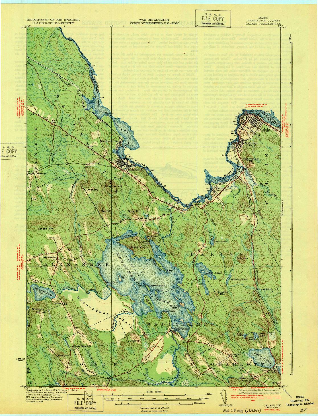 USGS 1:62500-SCALE QUADRANGLE FOR CALAIS, ME 1932