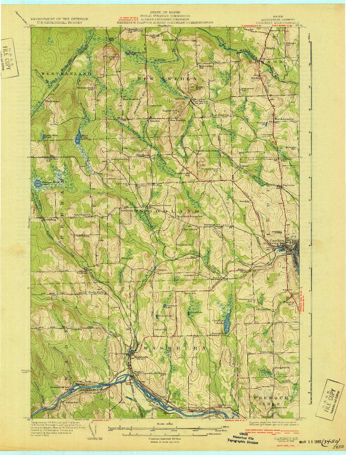 USGS 1:62500-SCALE QUADRANGLE FOR CARIBOU, ME 1932