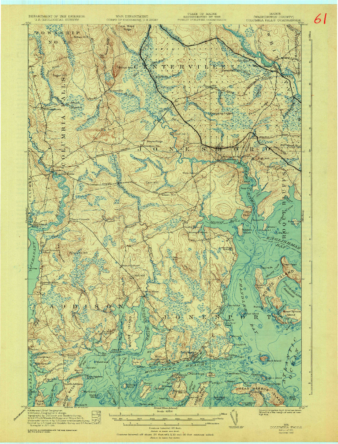 USGS 1:62500-SCALE QUADRANGLE FOR COLUMBIA FALLS, ME 1921
