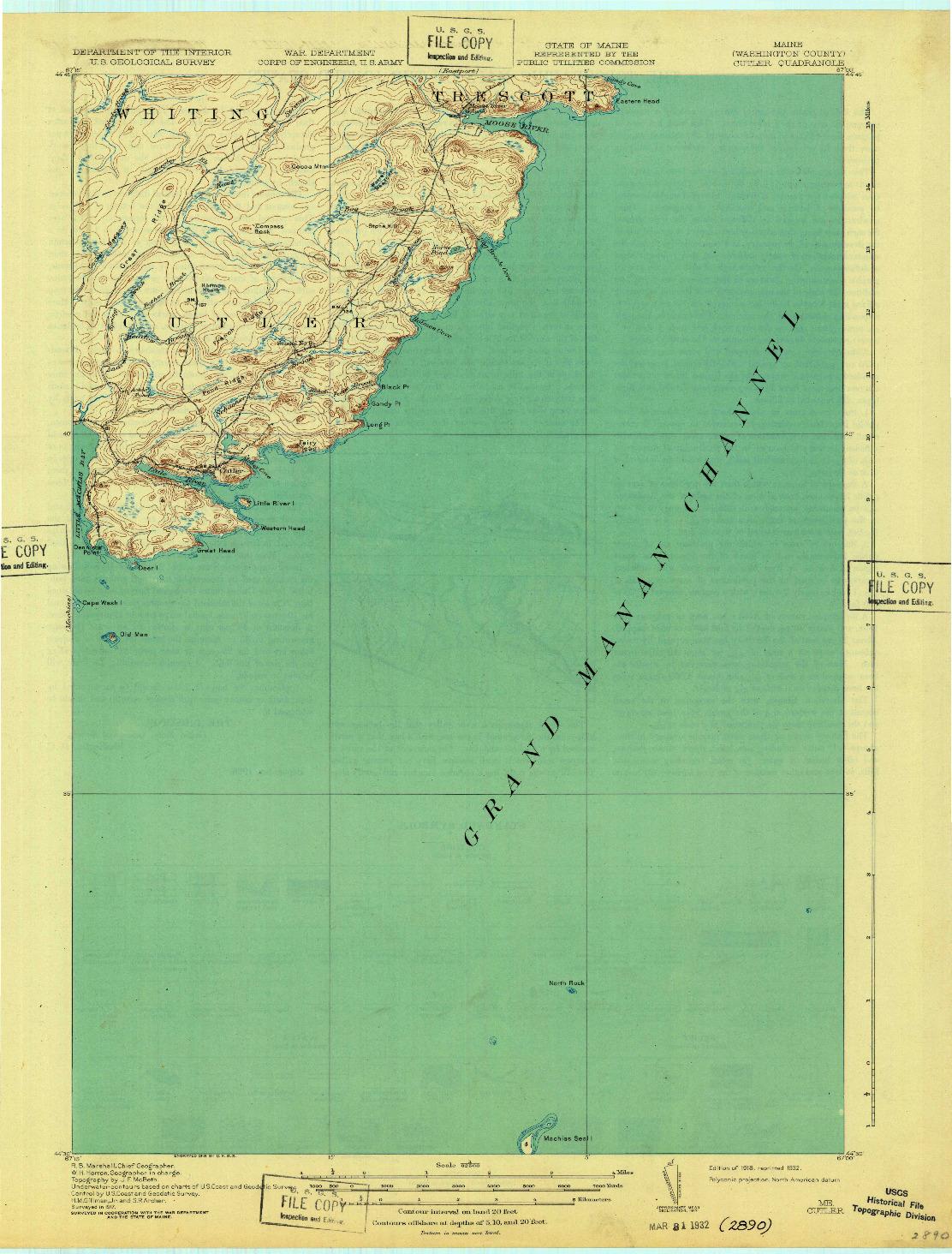 USGS 1:62500-SCALE QUADRANGLE FOR CUTLER, ME 1918