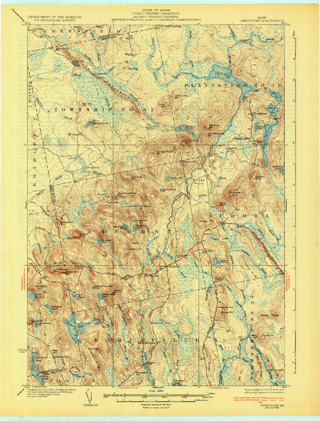 USGS 1:62500-SCALE QUADRANGLE FOR GREAT POND, ME 1932