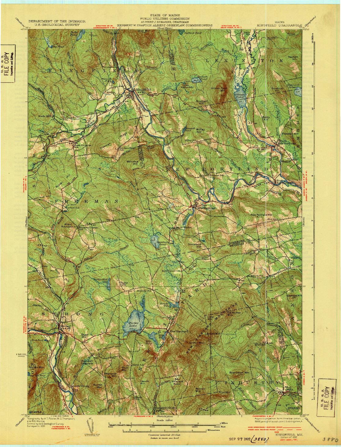 USGS 1:62500-SCALE QUADRANGLE FOR KINGFIELD, ME 1932