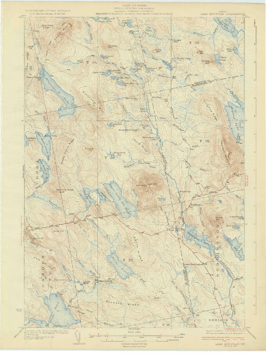 USGS 1:62500-SCALE QUADRANGLE FOR LEAD MTN, ME 1932
