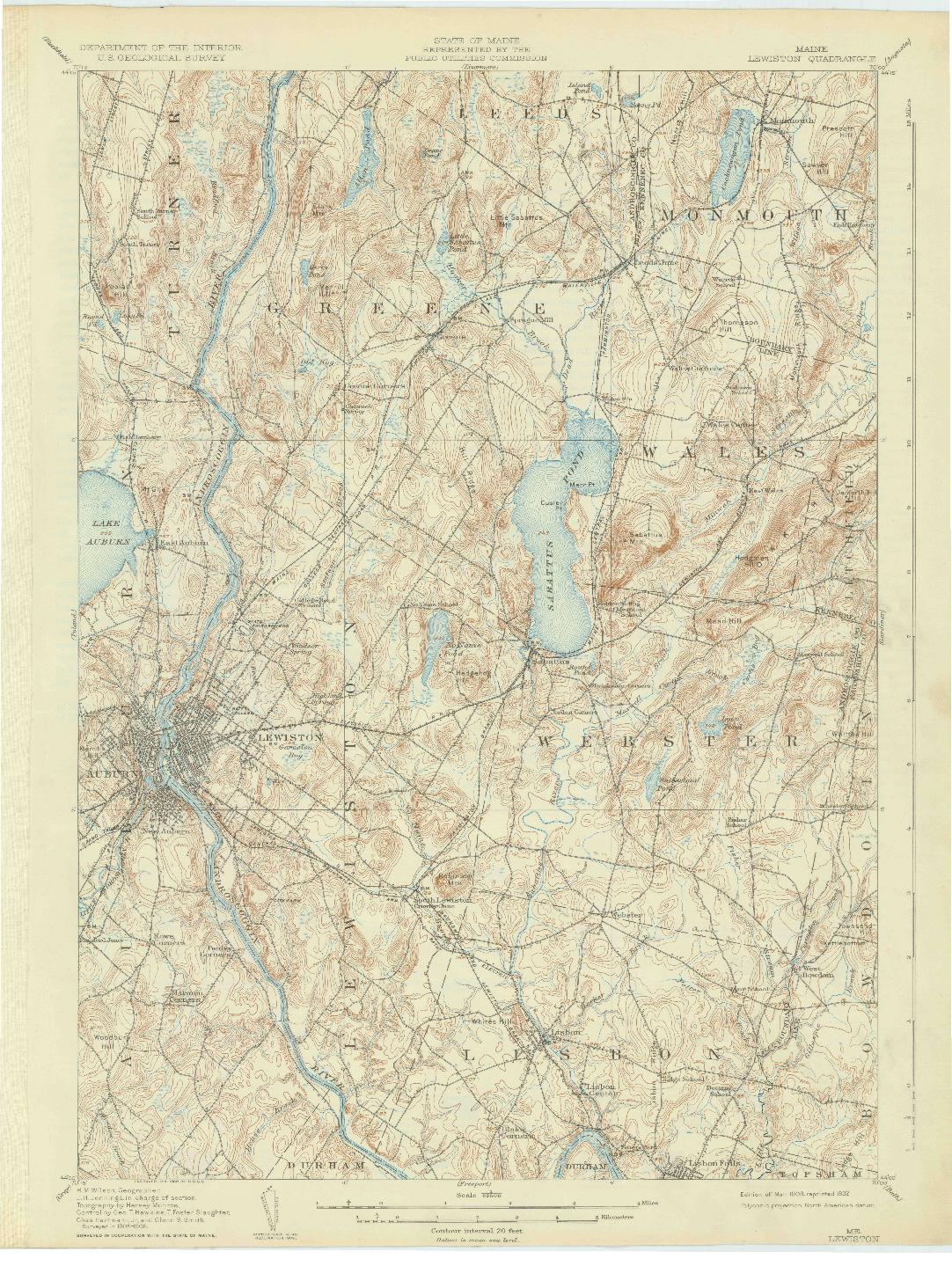 USGS 1:62500-SCALE QUADRANGLE FOR LEWISTON, ME 1908