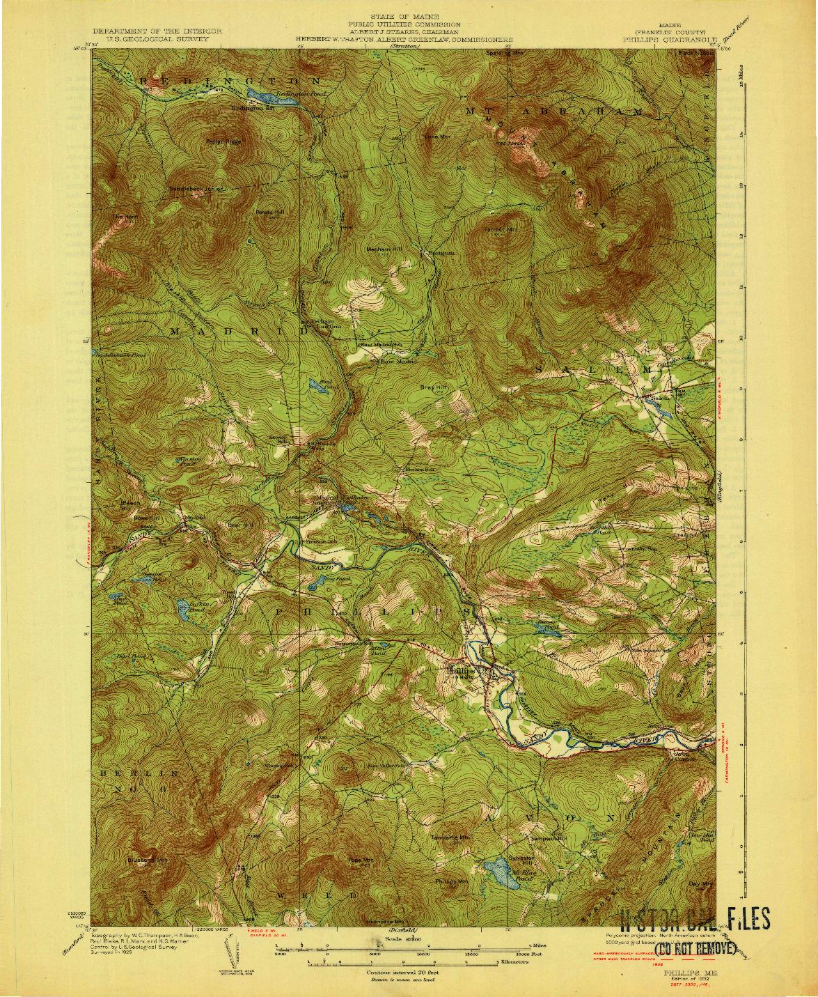 USGS 1:62500-SCALE QUADRANGLE FOR PHILLIPS, ME 1932
