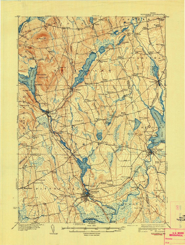 USGS 1:62500-SCALE QUADRANGLE FOR PITTSFIELD, ME 1932