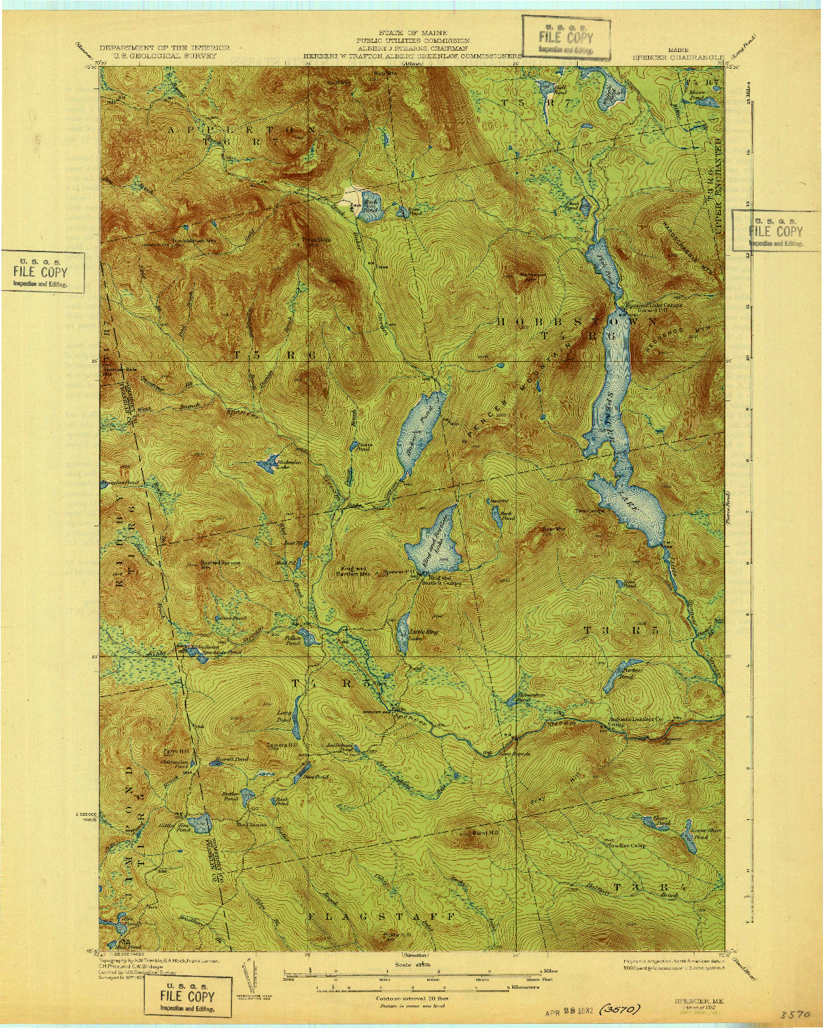 USGS 1:62500-SCALE QUADRANGLE FOR SPENCER, ME 1932