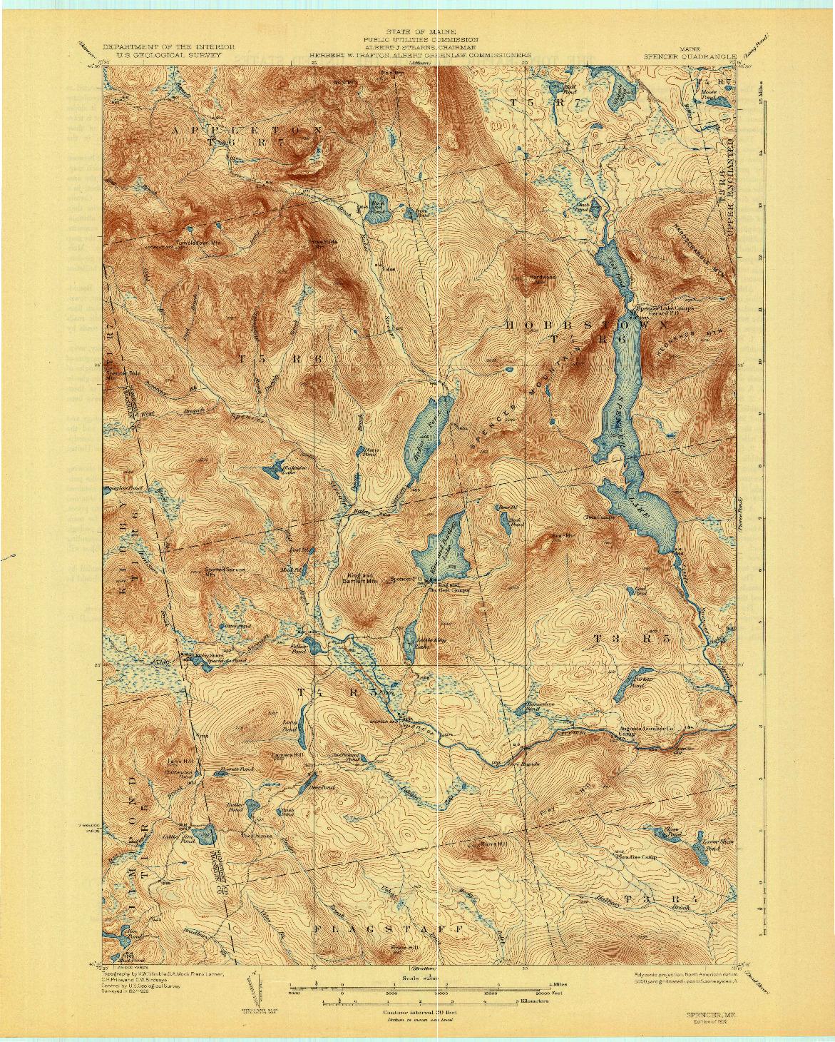 USGS 1:62500-SCALE QUADRANGLE FOR SPENCER, ME 1932