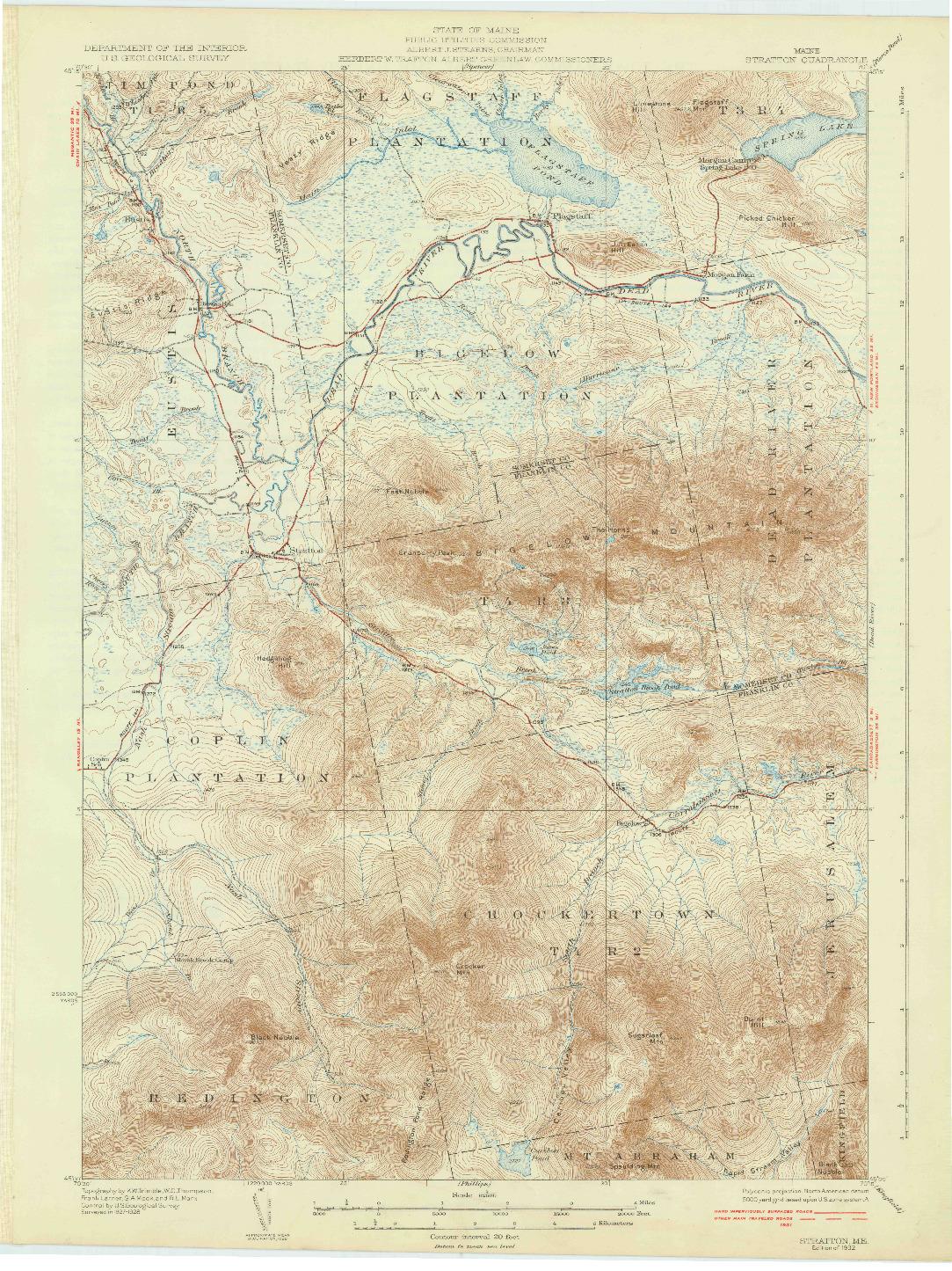 USGS 1:62500-SCALE QUADRANGLE FOR STRATTON, ME 1932