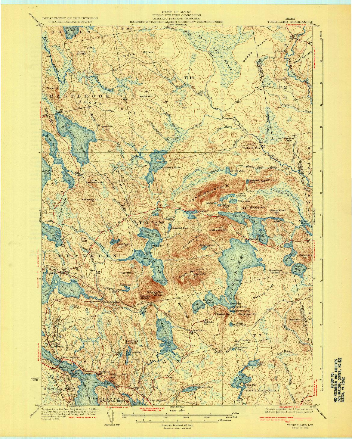 USGS 1:62500-SCALE QUADRANGLE FOR TUNK LAKE, ME 1932
