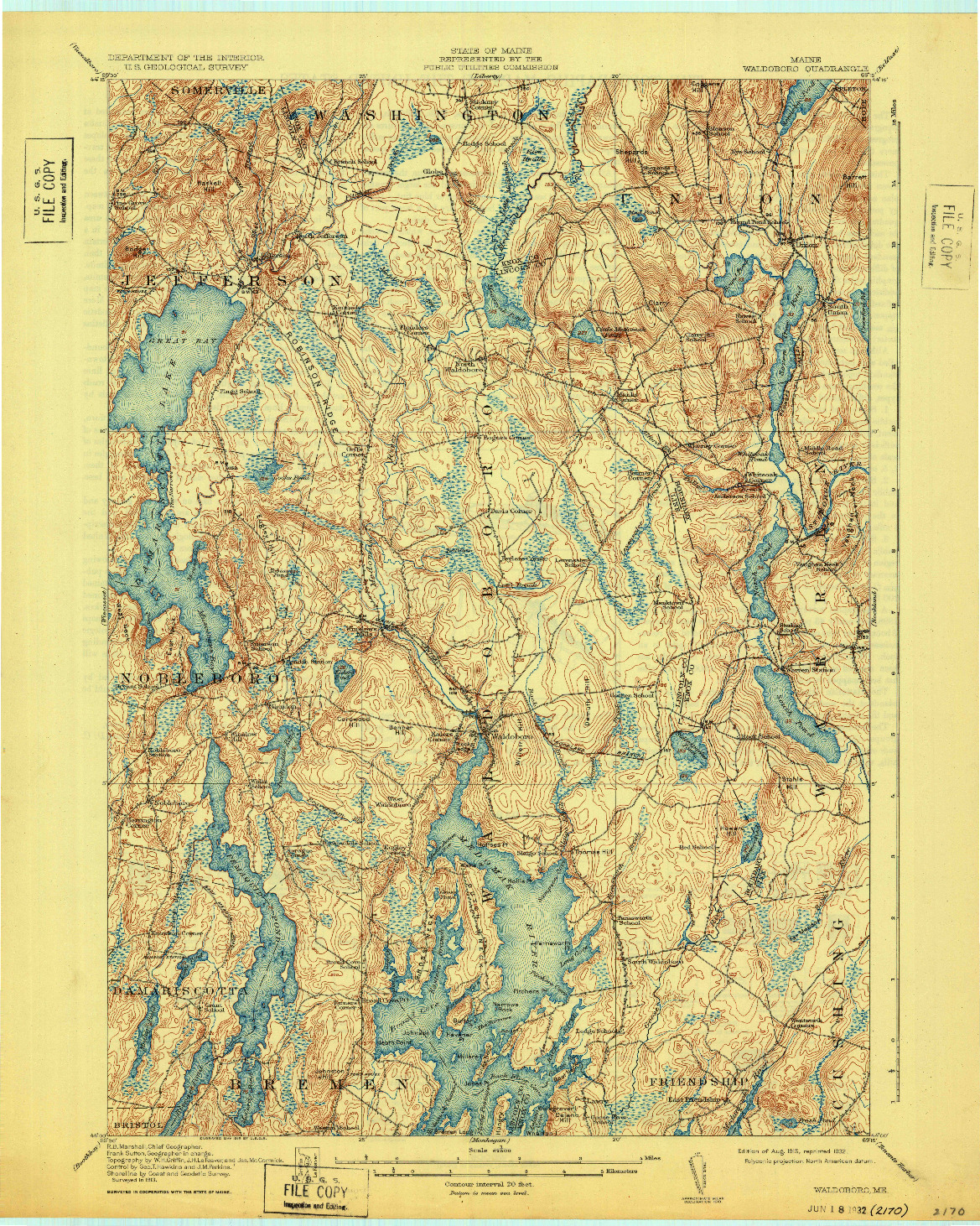 USGS 1:62500-SCALE QUADRANGLE FOR WALDOBORO, ME 1915