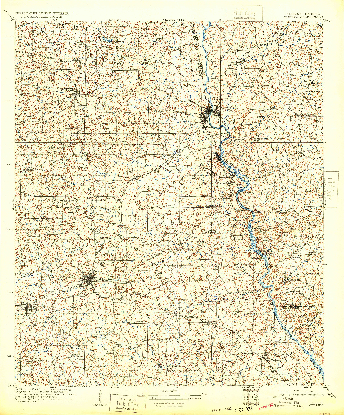 USGS 1:125000-SCALE QUADRANGLE FOR OPELIKA, AL 1909