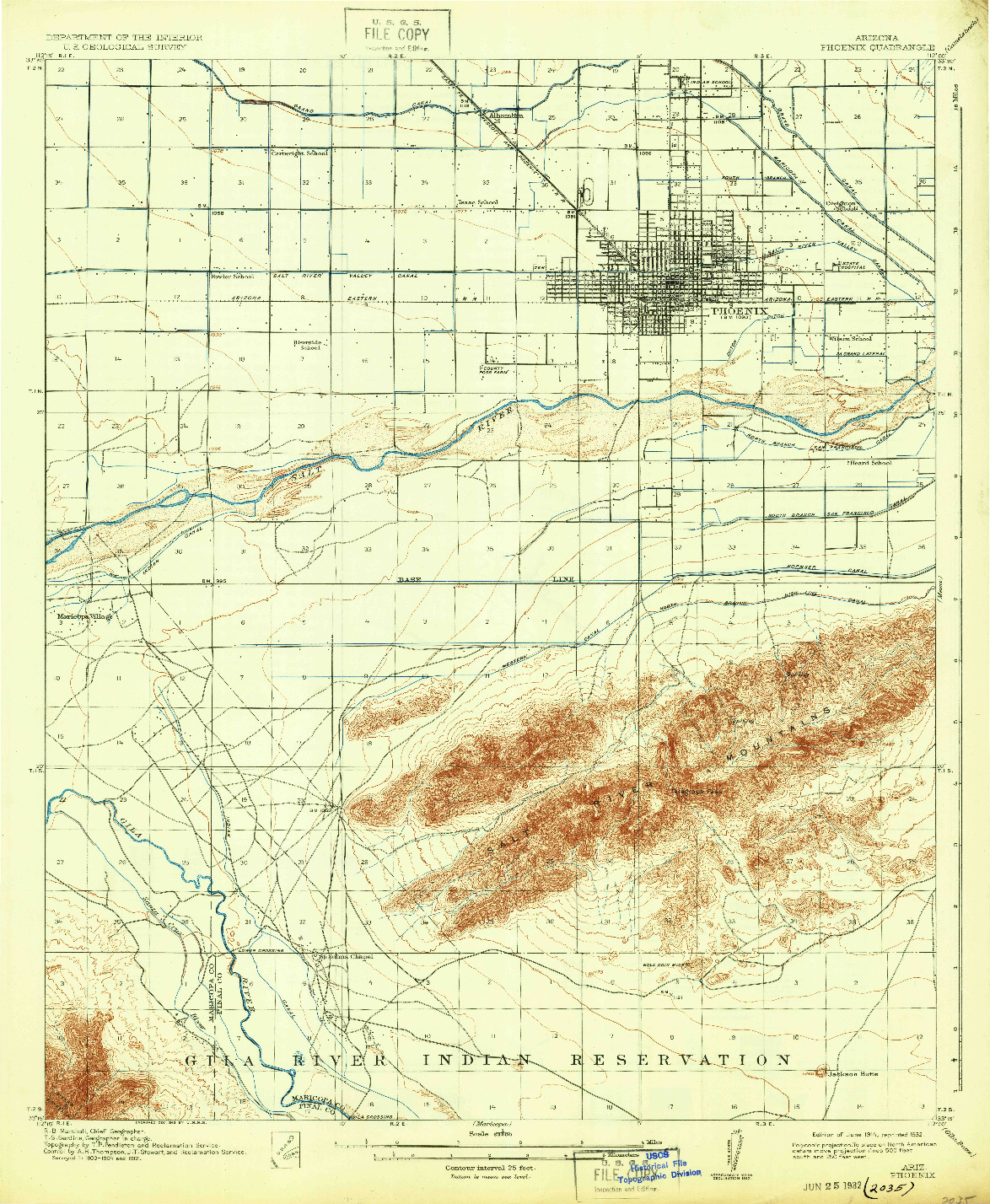 USGS 1:62500-SCALE QUADRANGLE FOR PHOENIX, AZ 1914
