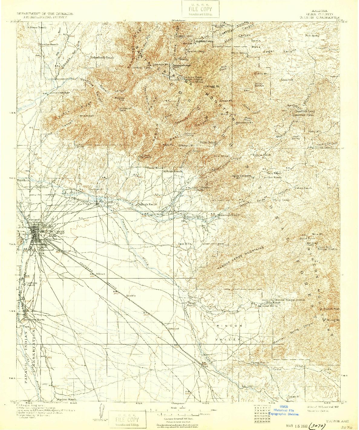 USGS 1:125000-SCALE QUADRANGLE FOR TUCSON, AZ 1905