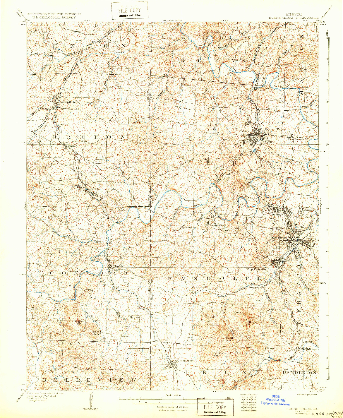USGS 1:62500-SCALE QUADRANGLE FOR BONNE TERRE, MO 1905