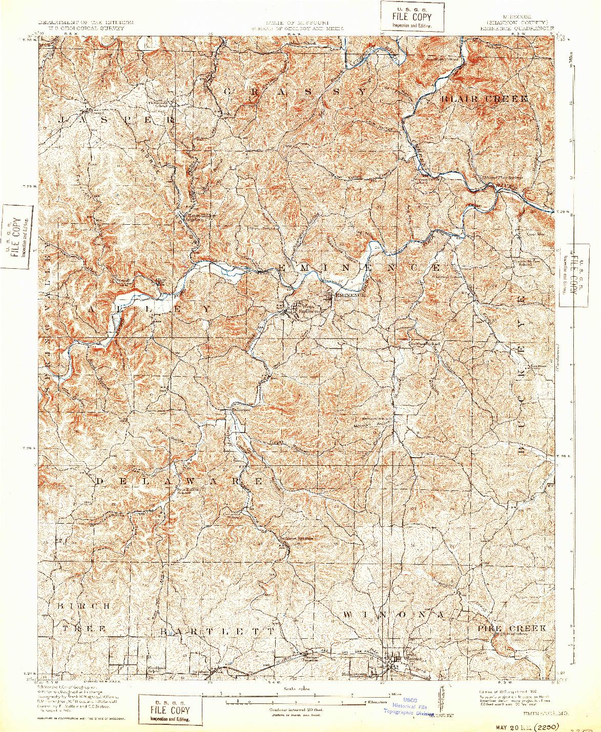 USGS 1:62500-SCALE QUADRANGLE FOR EMINENCE, MO 1917