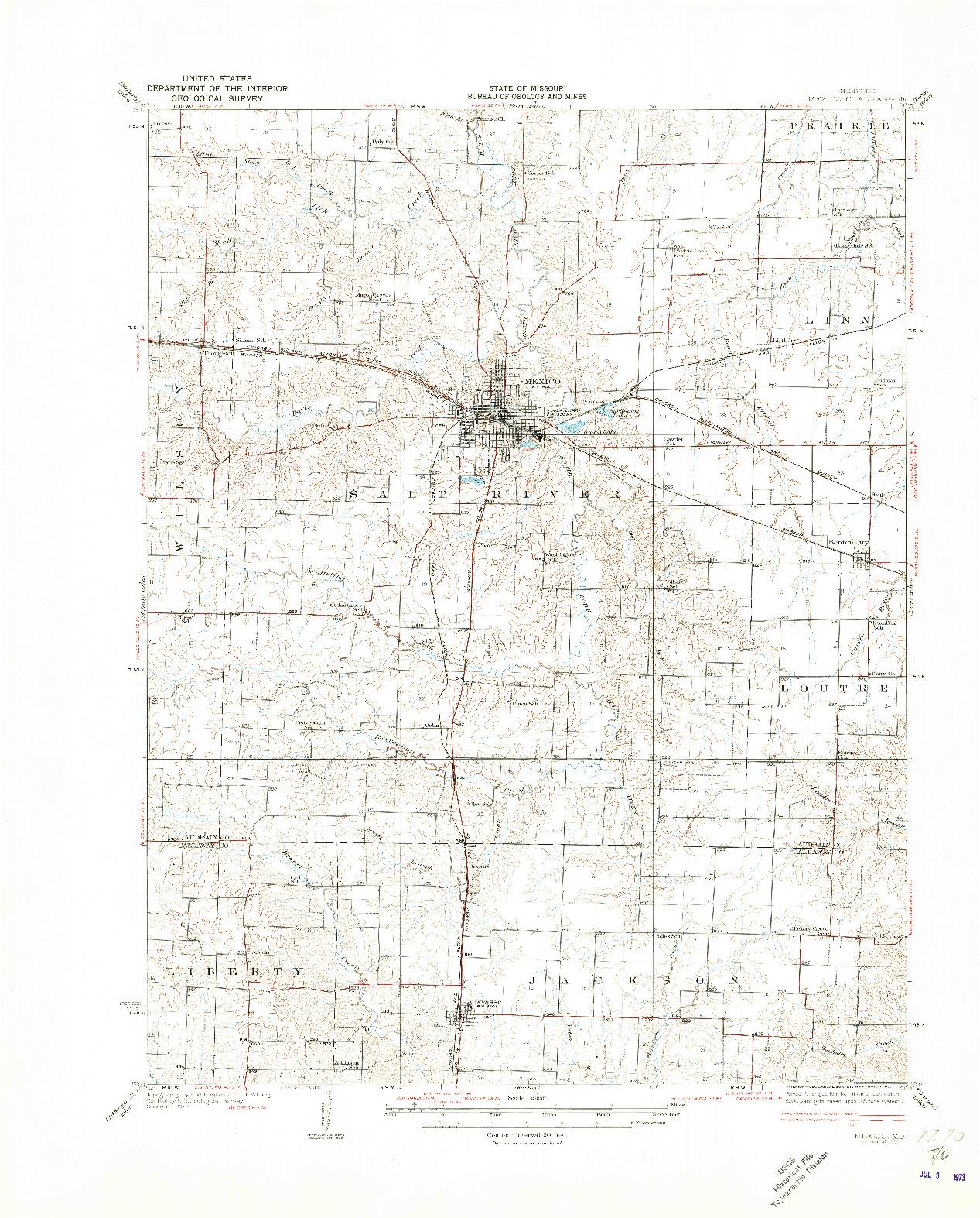 USGS 1:62500-SCALE QUADRANGLE FOR MEXICO, MO 1932