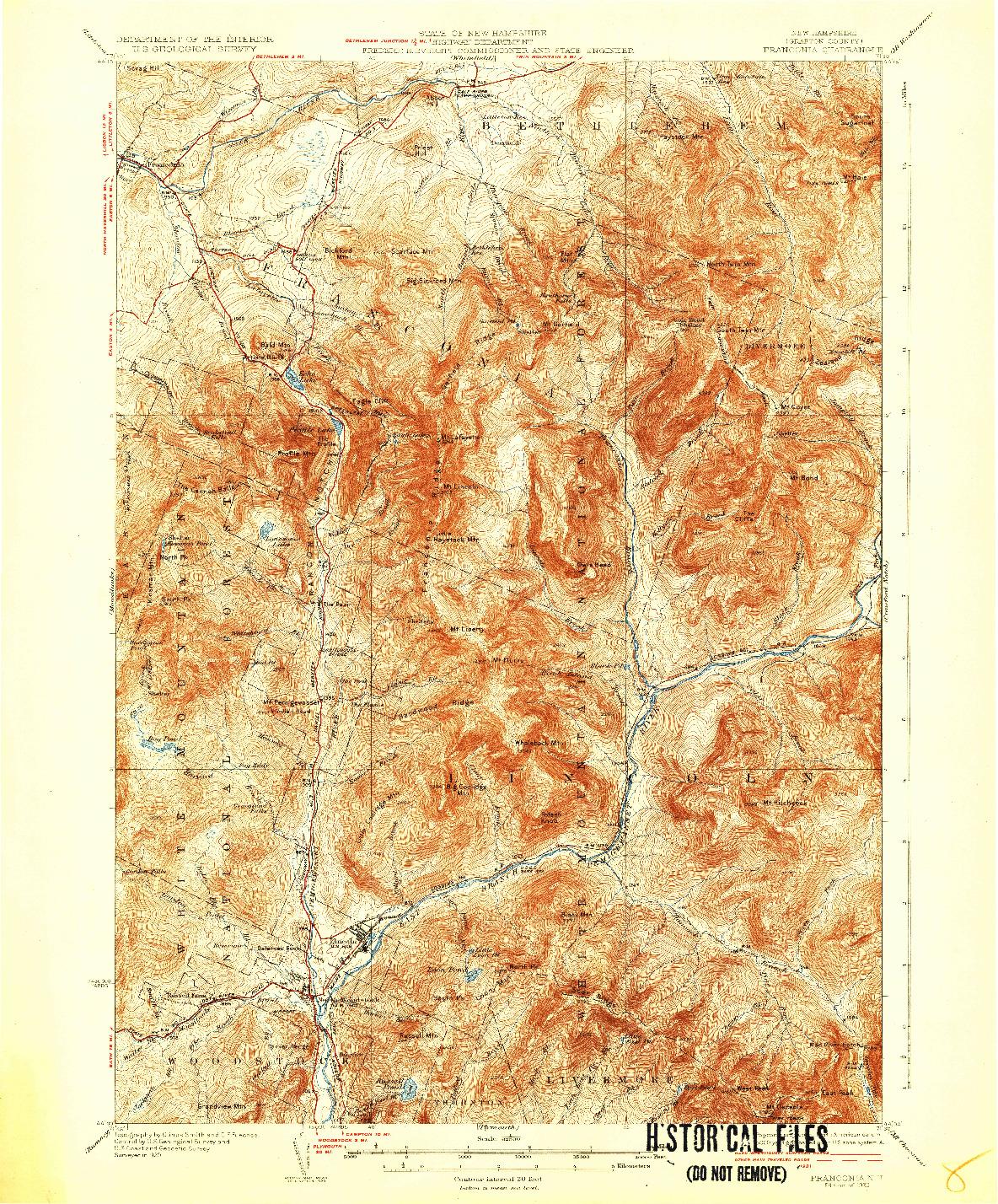 USGS 1:62500-SCALE QUADRANGLE FOR FRANCONIA, NH 1932