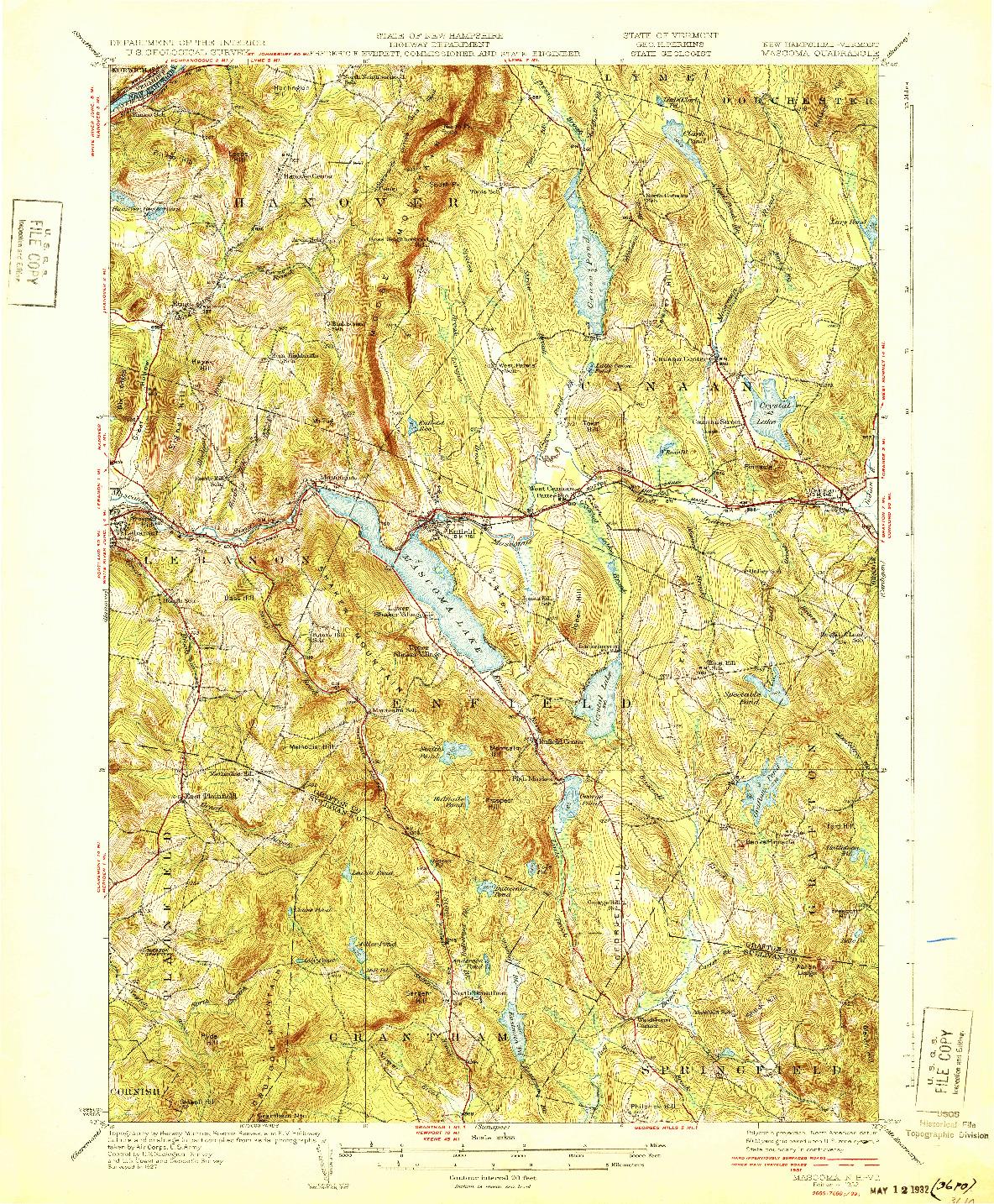 USGS 1:62500-SCALE QUADRANGLE FOR MASCOMA, NH 1932