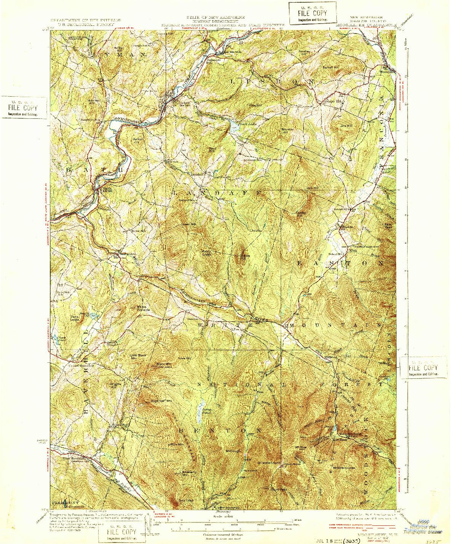 USGS 1:62500-SCALE QUADRANGLE FOR MOOSILAUKE, NH 1932