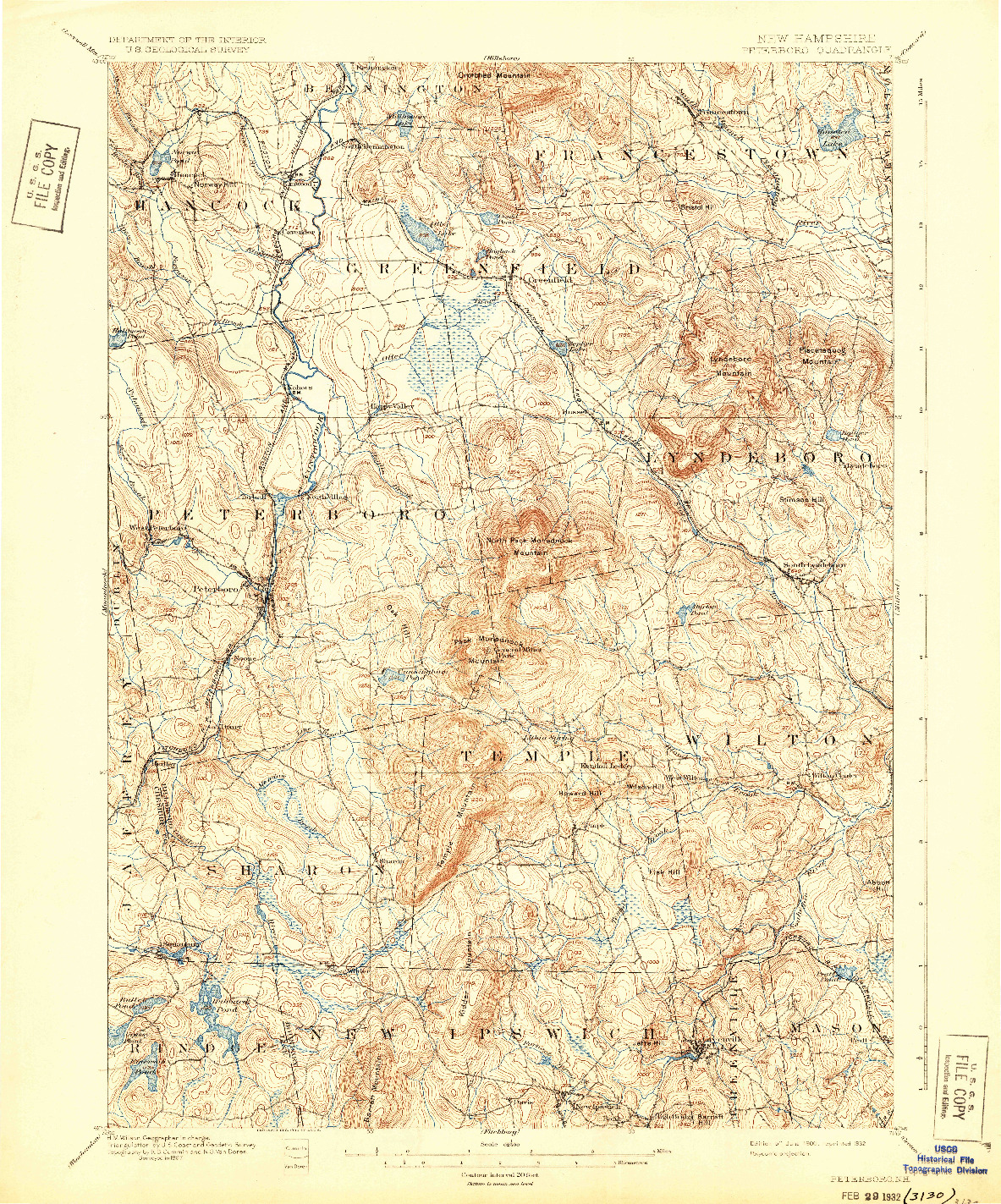 USGS 1:62500-SCALE QUADRANGLE FOR PETERBORO, NH 1900