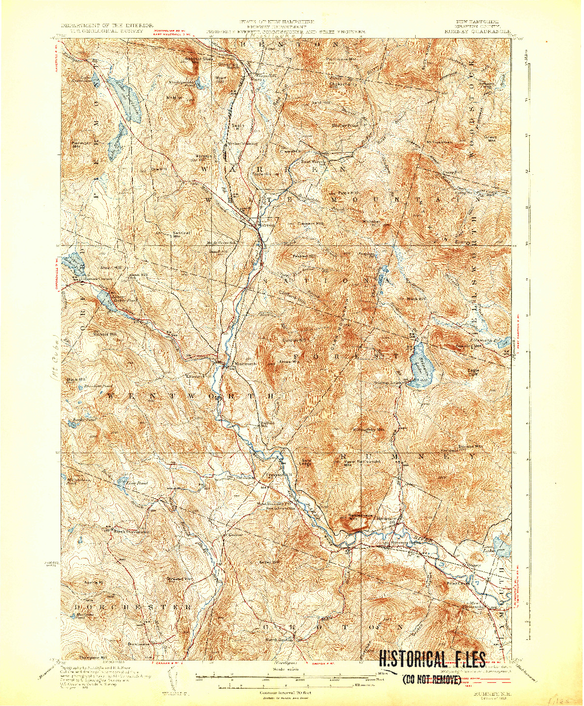 USGS 1:62500-SCALE QUADRANGLE FOR RUMNEY, NH 1932