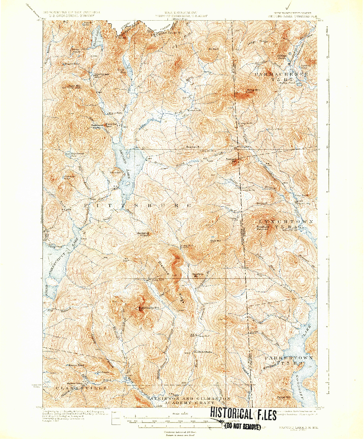 USGS 1:62500-SCALE QUADRANGLE FOR SECOND LAKE, NH 1932