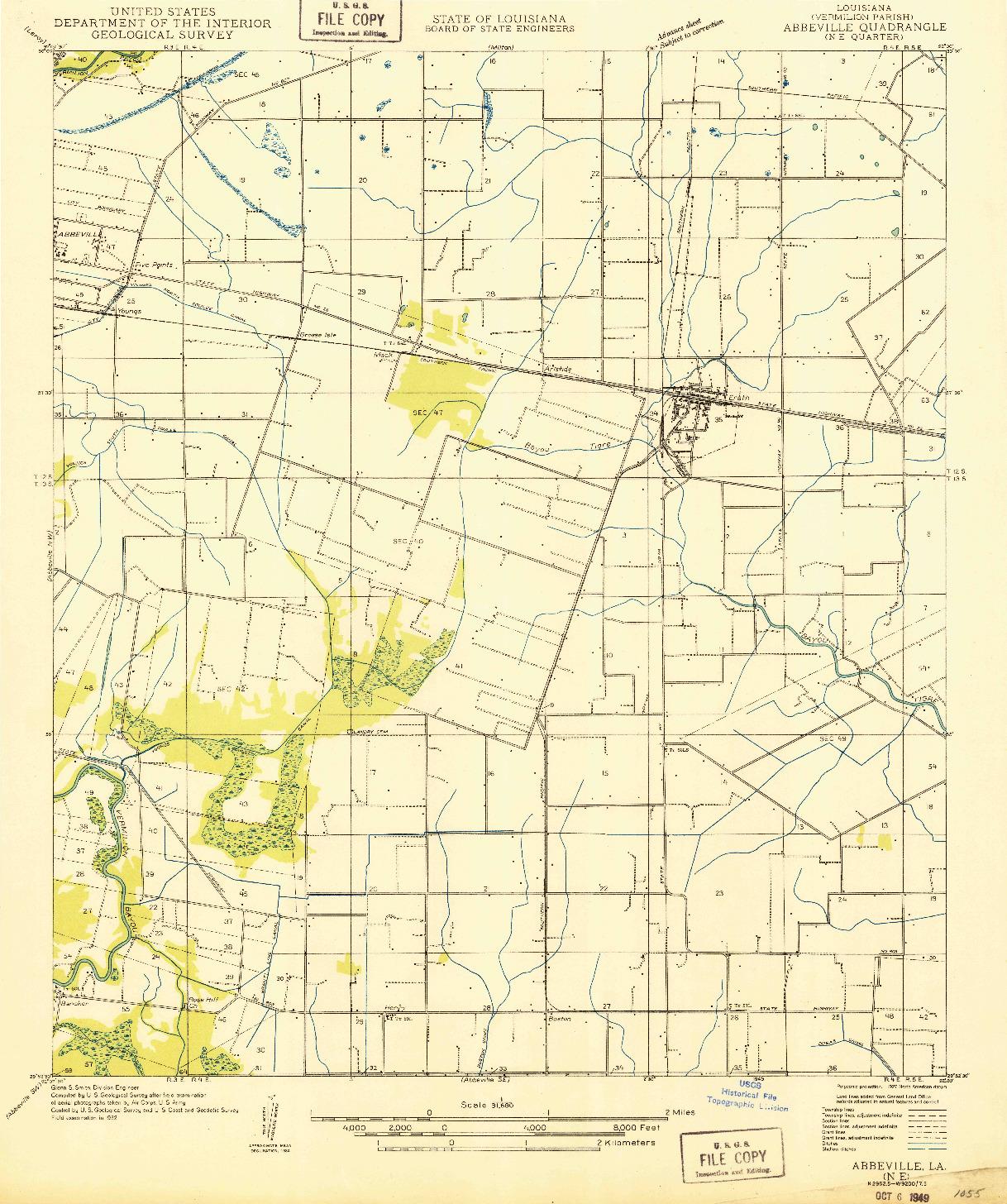 USGS 1:31680-SCALE QUADRANGLE FOR ABBEVILLE NE, LA 1932