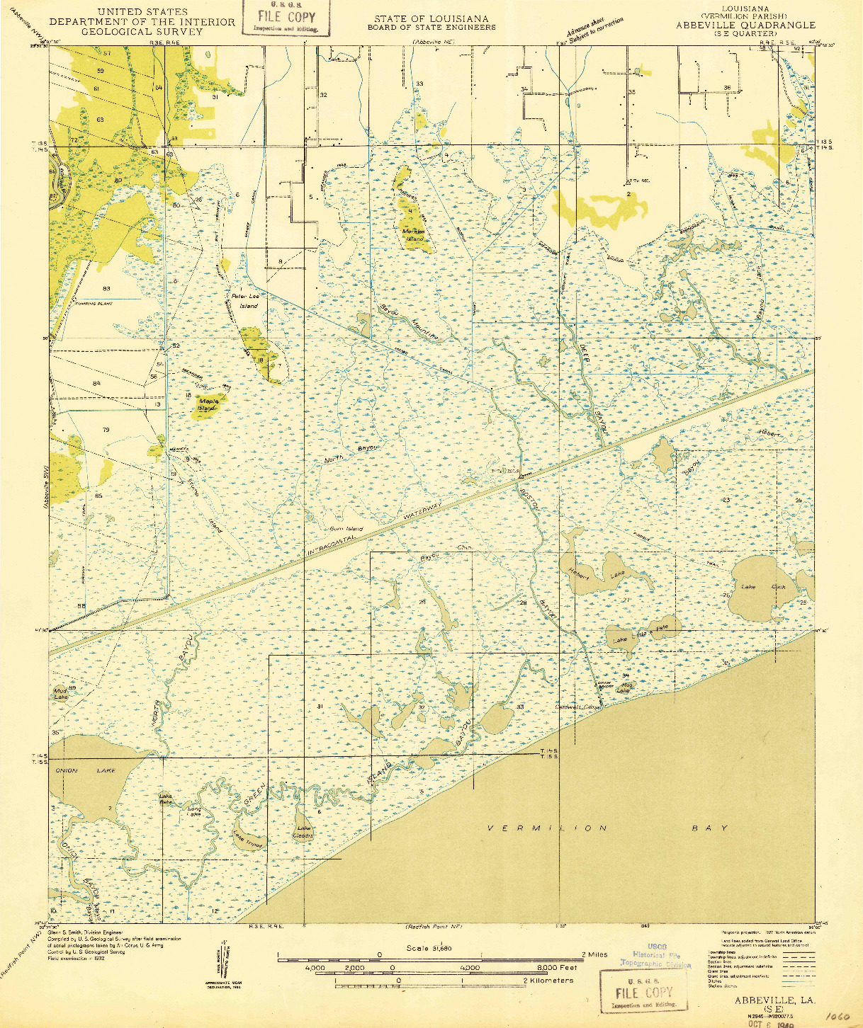 USGS 1:31680-SCALE QUADRANGLE FOR ABBEVILLE SE, LA 1932