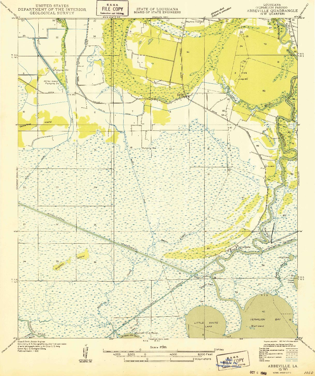 USGS 1:31680-SCALE QUADRANGLE FOR ABBEVILLE SW, LA 1932
