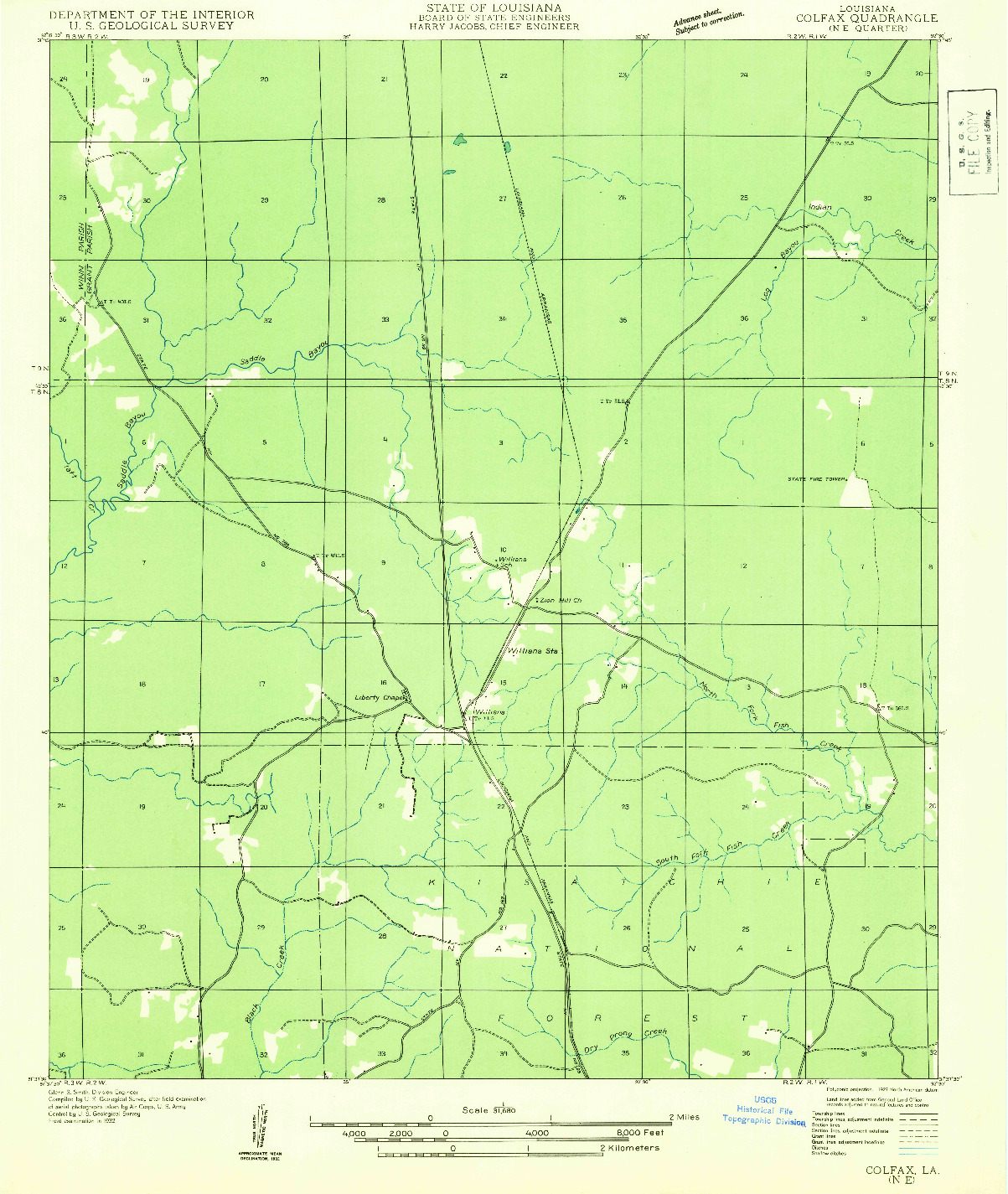 USGS 1:31680-SCALE QUADRANGLE FOR COLFAX NE, LA 1932