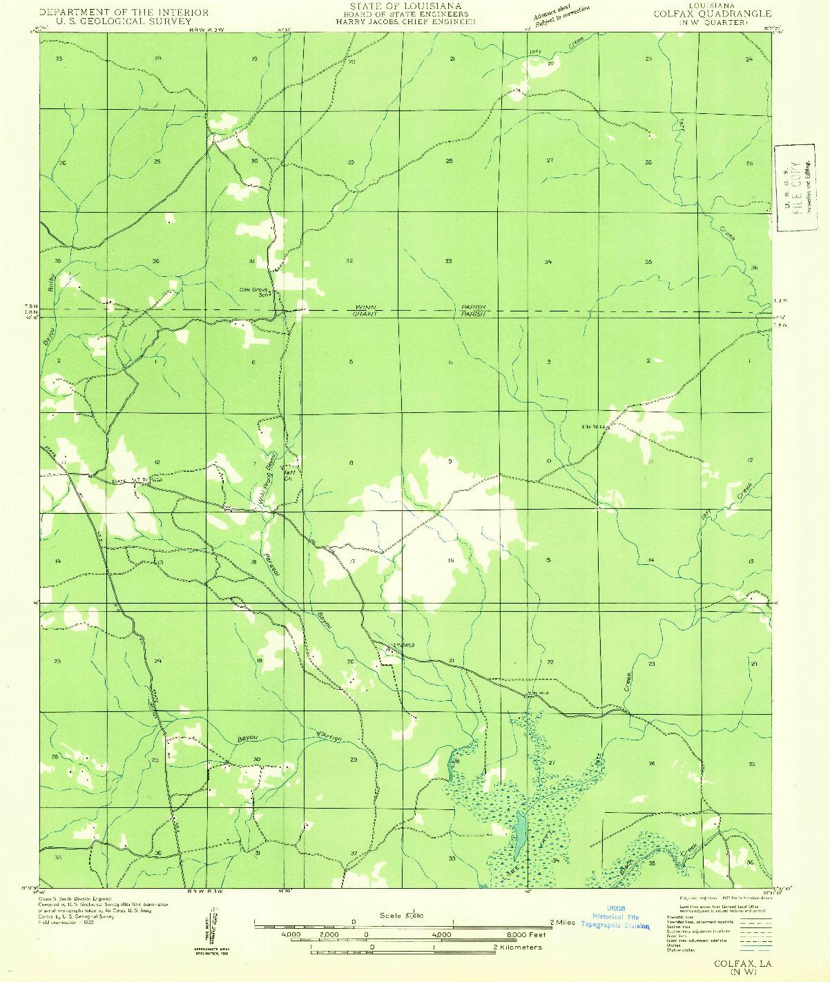 USGS 1:31680-SCALE QUADRANGLE FOR COLFAX NW, LA 1932