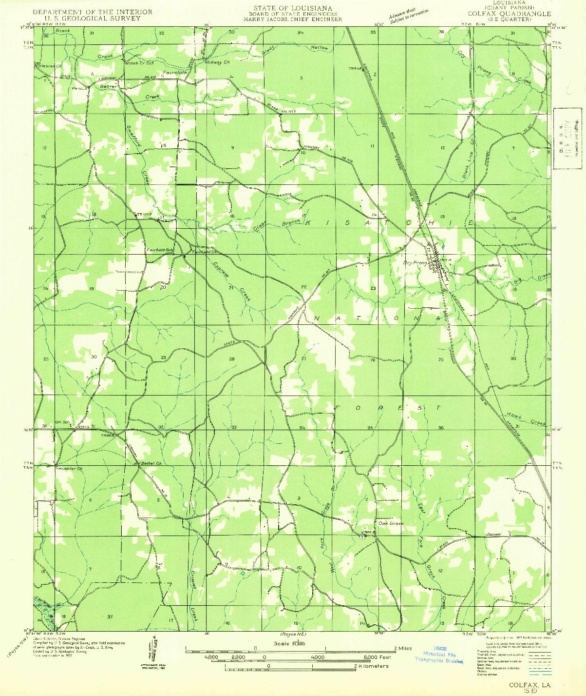 USGS 1:31680-SCALE QUADRANGLE FOR COLFAX SE, LA 1932
