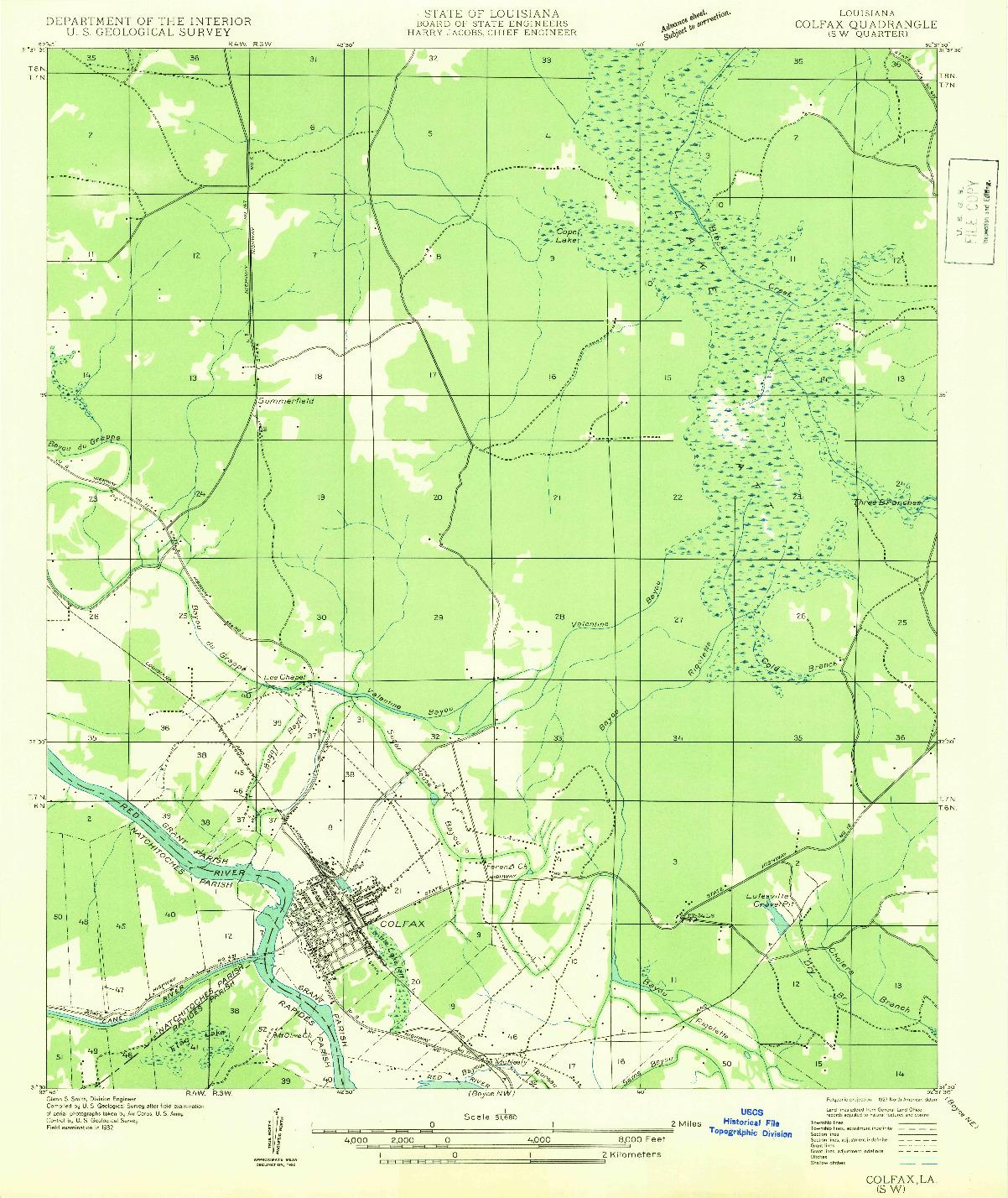 USGS 1:31680-SCALE QUADRANGLE FOR COLFAX SW, LA 1932