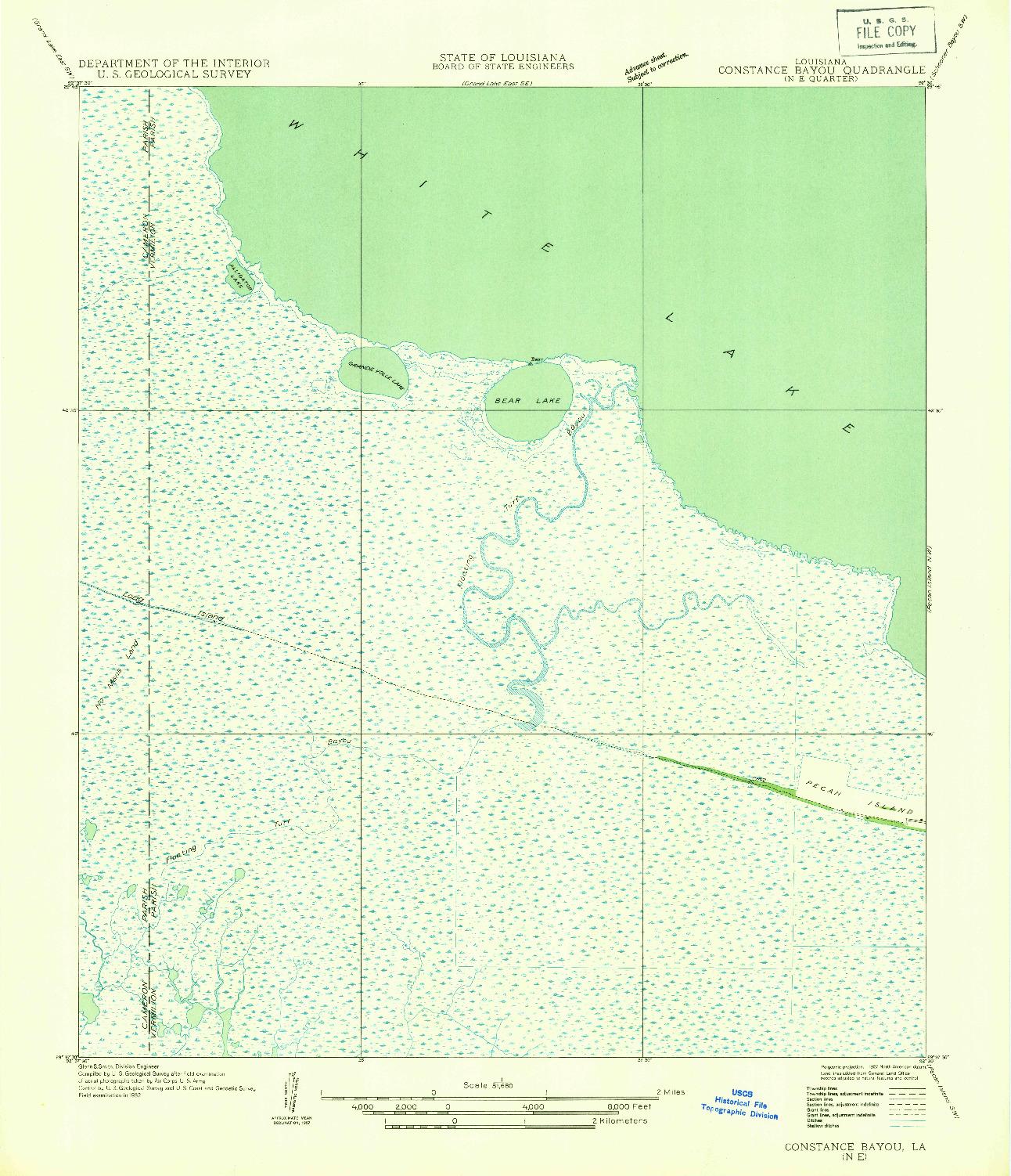 USGS 1:31680-SCALE QUADRANGLE FOR CONSTANCE BAYOU NE, LA 1932