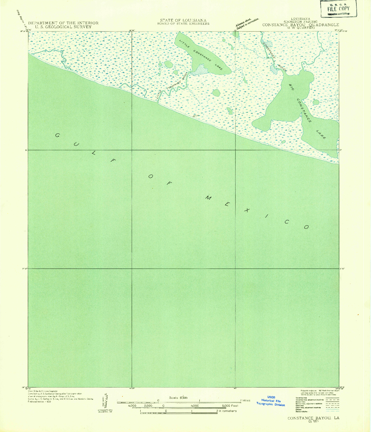 USGS 1:31680-SCALE QUADRANGLE FOR CONSTANCE BAYOU SW, LA 1932