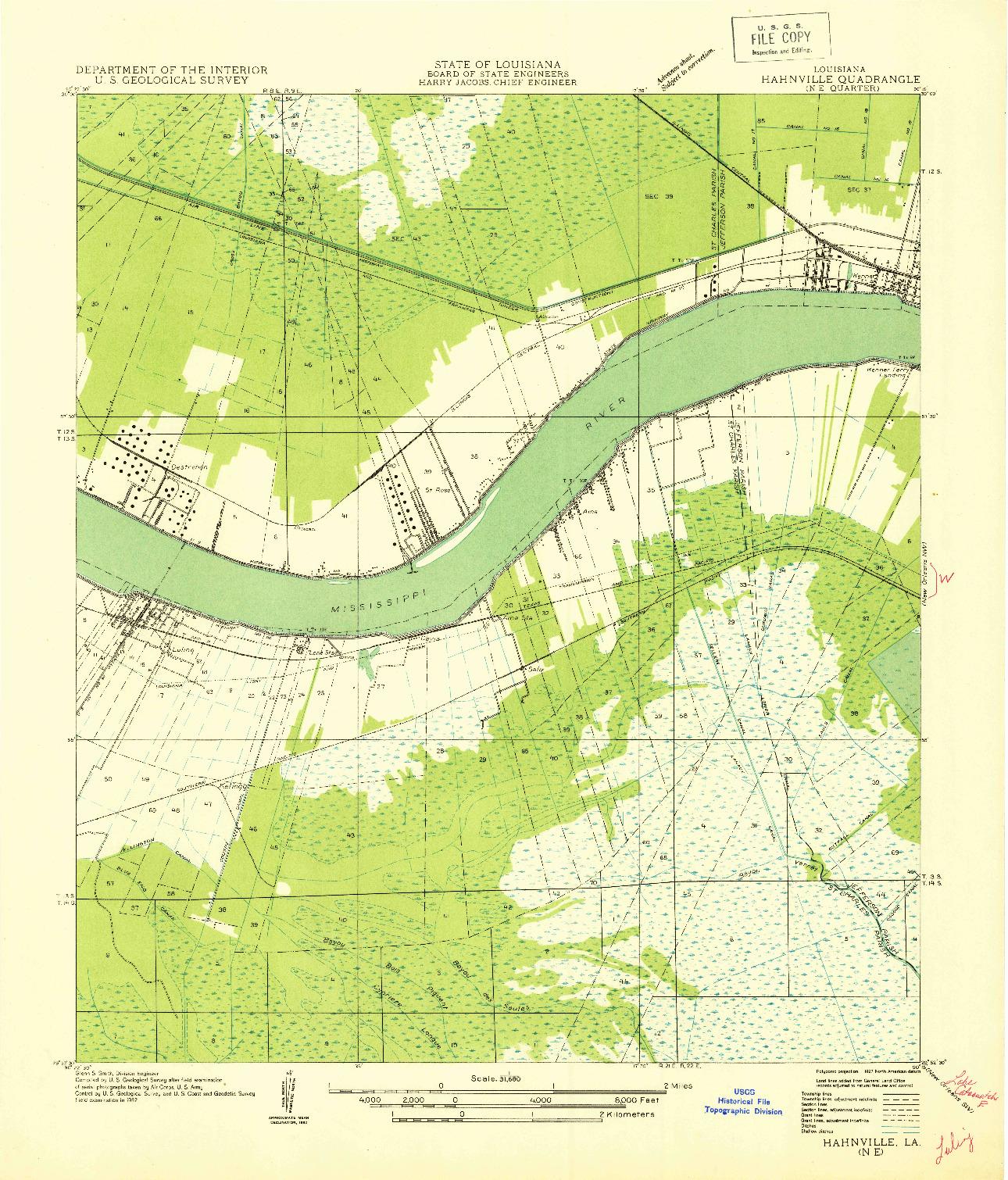 USGS 1:31680-SCALE QUADRANGLE FOR HAHNVILLE NE, LA 1932