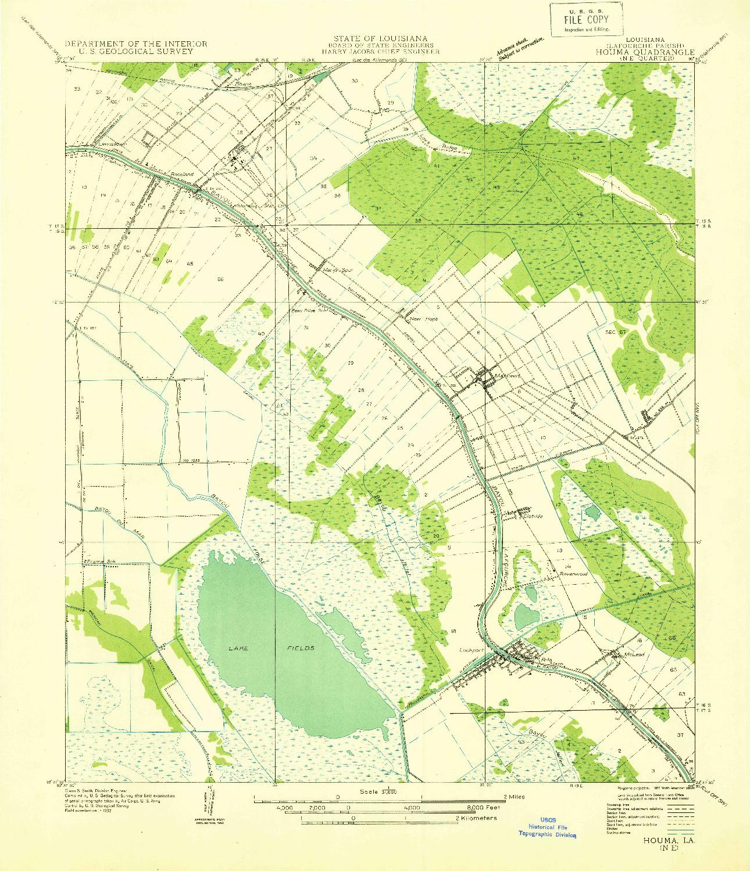 USGS 1:31680-SCALE QUADRANGLE FOR HOUMA NE, LA 1932