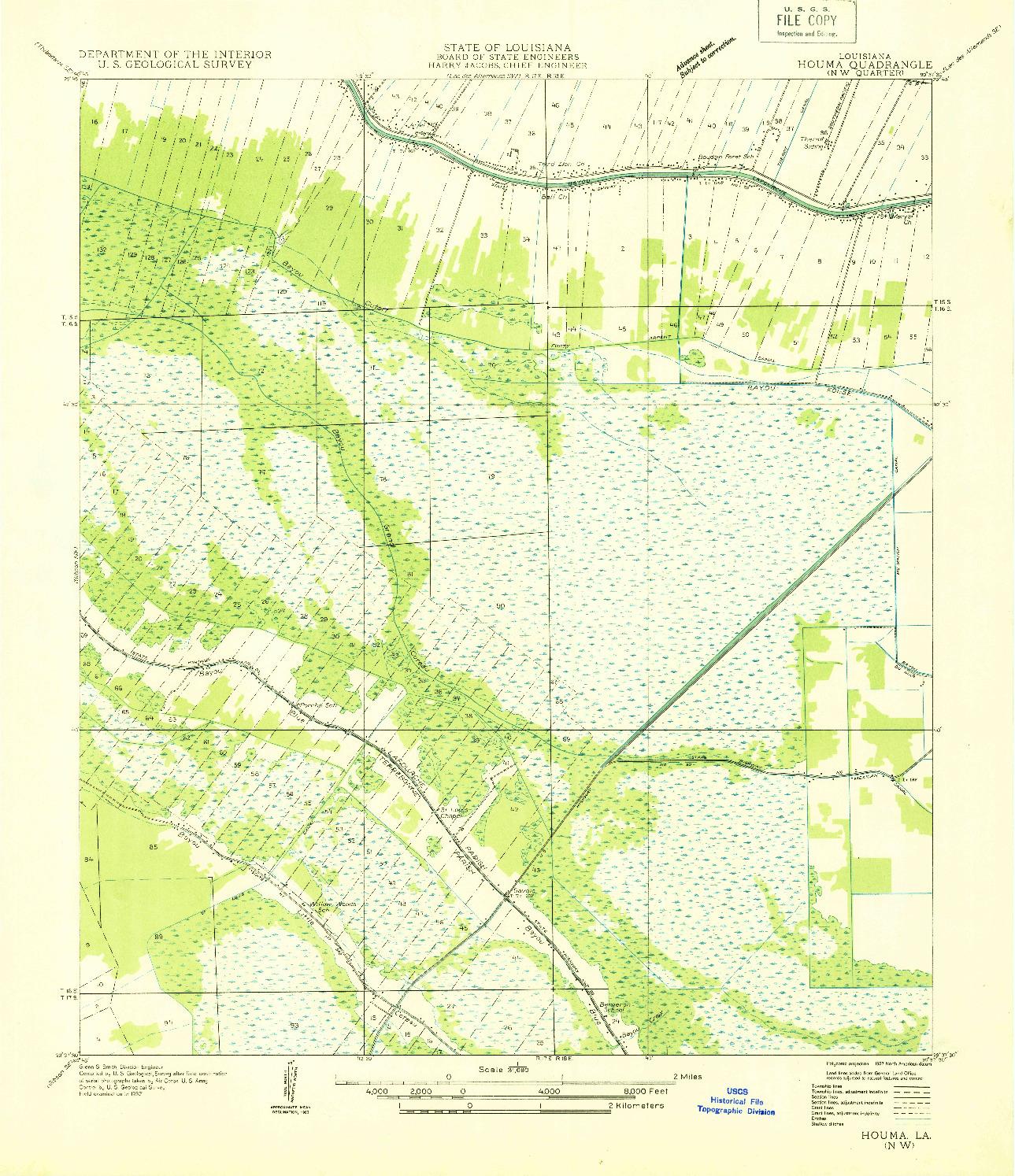 USGS 1:31680-SCALE QUADRANGLE FOR HOUMA NW, LA 1932