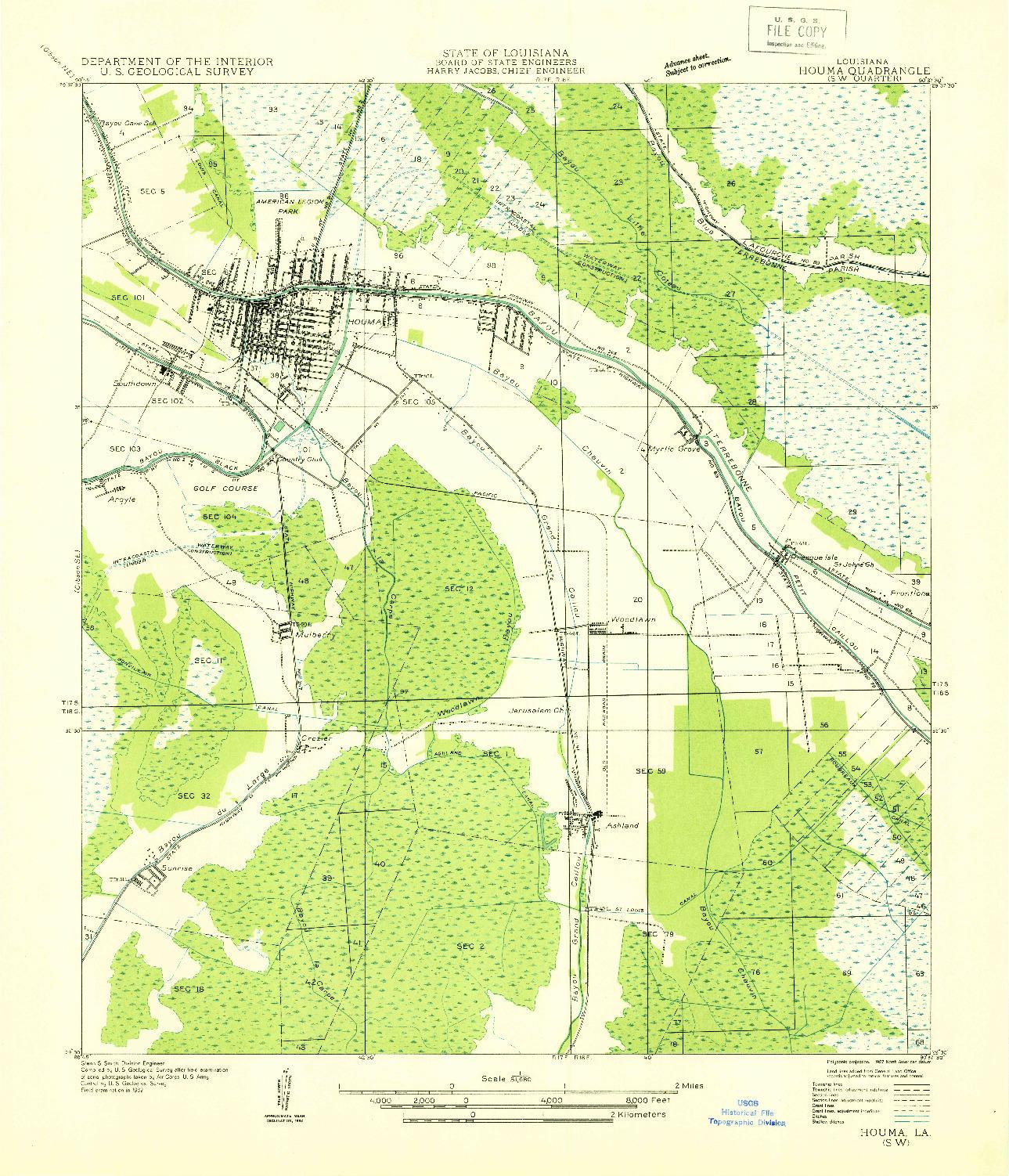 USGS 1:31680-SCALE QUADRANGLE FOR HOUMA SW, LA 1932