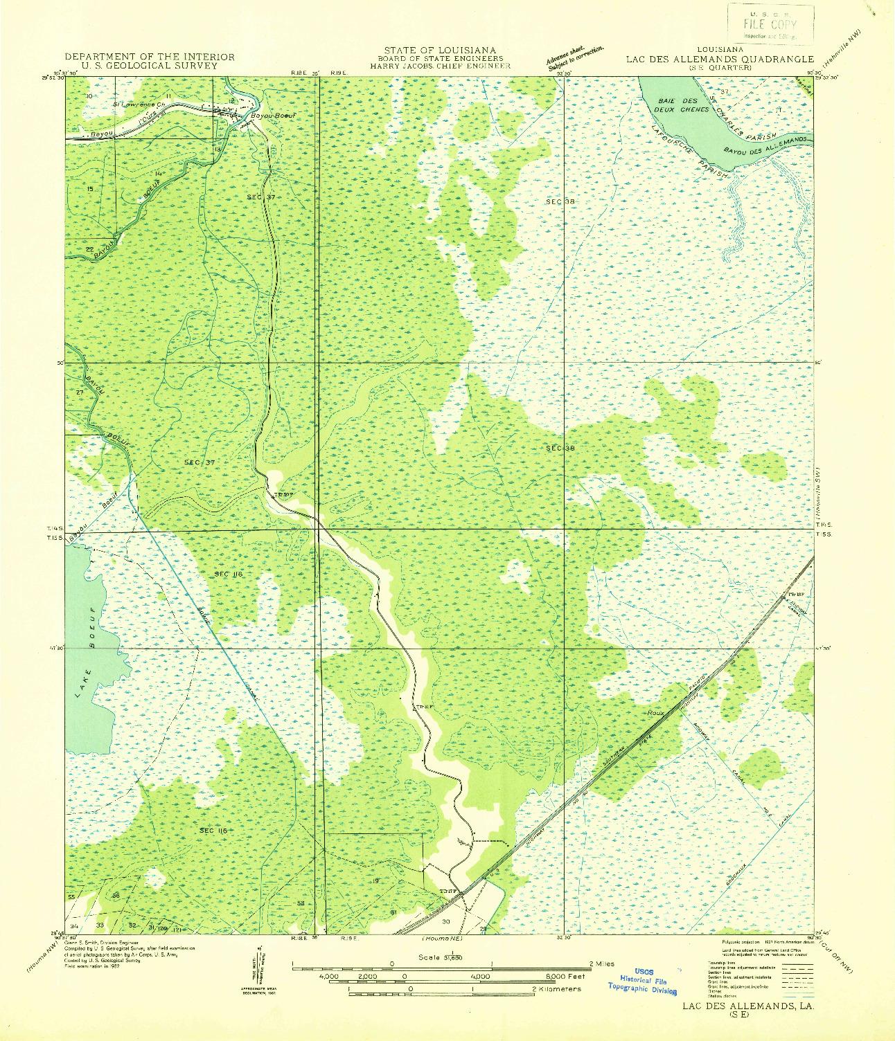 USGS 1:31680-SCALE QUADRANGLE FOR LAC DES ALLEMANDS SE, LA 1932