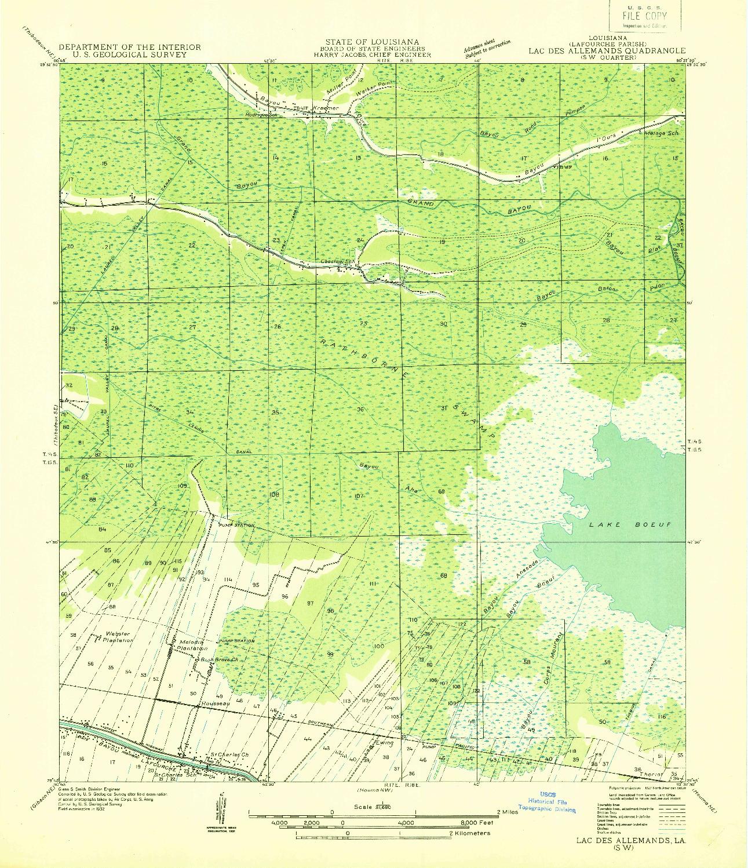 USGS 1:31680-SCALE QUADRANGLE FOR LAC DES ALLEMANDS SW, LA 1932