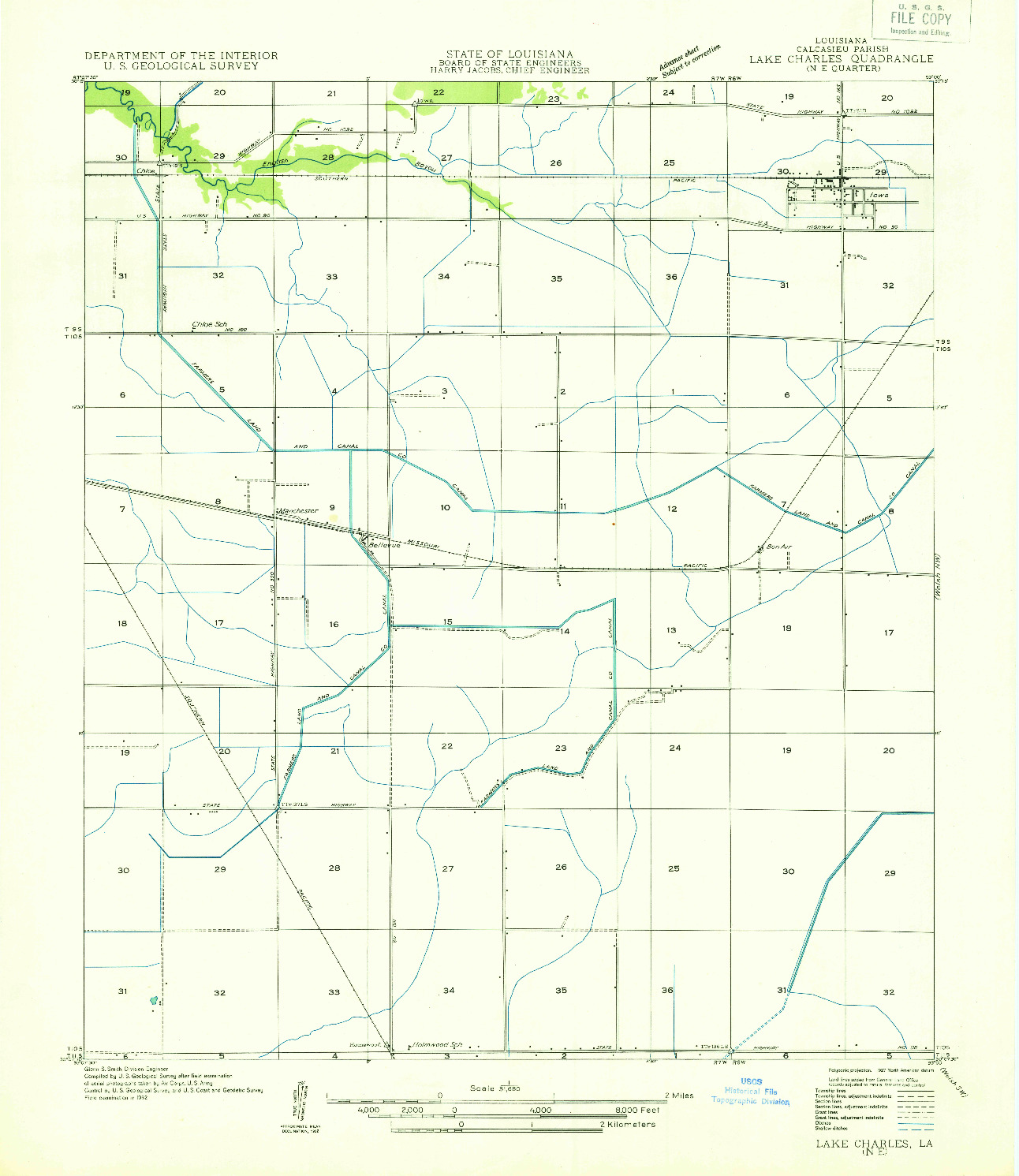 USGS 1:31680-SCALE QUADRANGLE FOR LAKE CHARLES NE, LA 1932