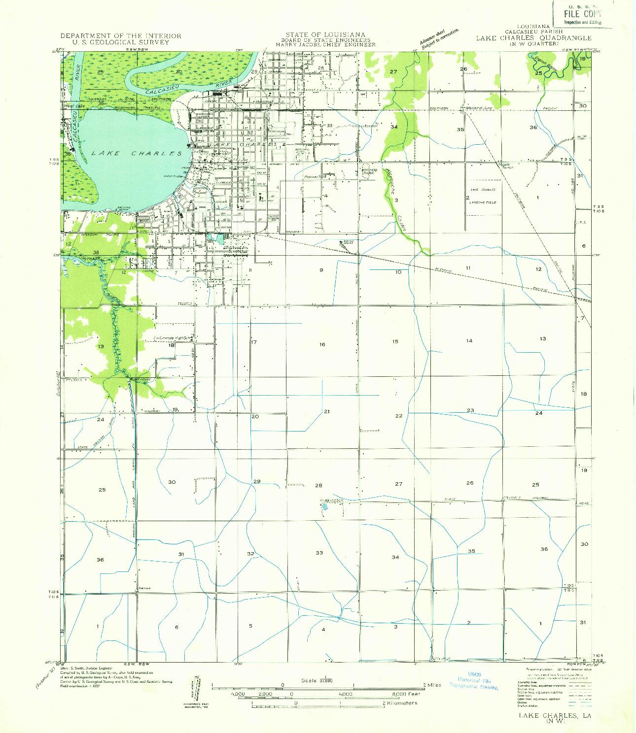 USGS 1:31680-SCALE QUADRANGLE FOR LAKE CHARLES NW, LA 1932